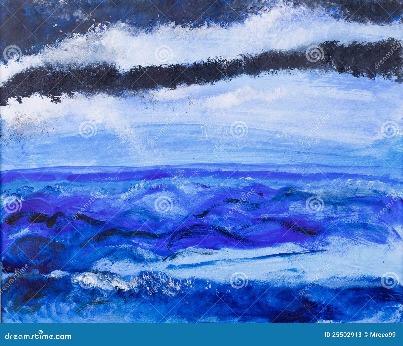 丙烯酸酯的蓝色大风凯海洋绘画视图.图片