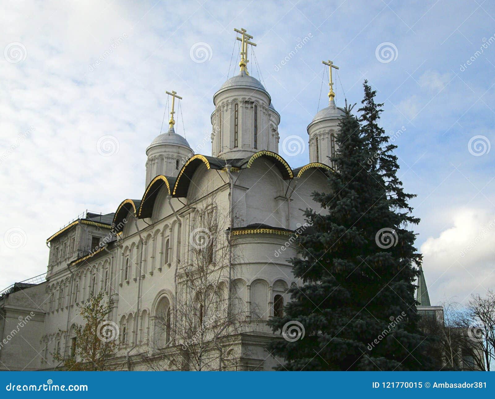 东正教圆顶在克里姆林宫复合体里面的在俄罗斯