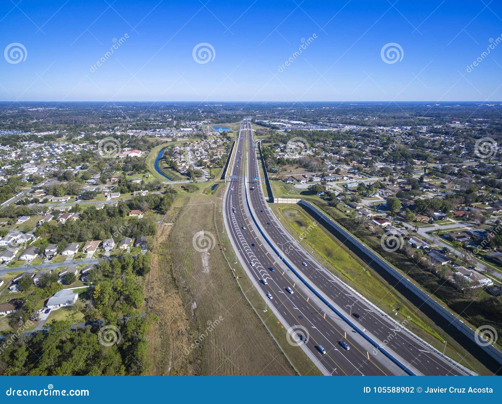 408东西方高速公路奥兰多佛罗里达鸟瞰图