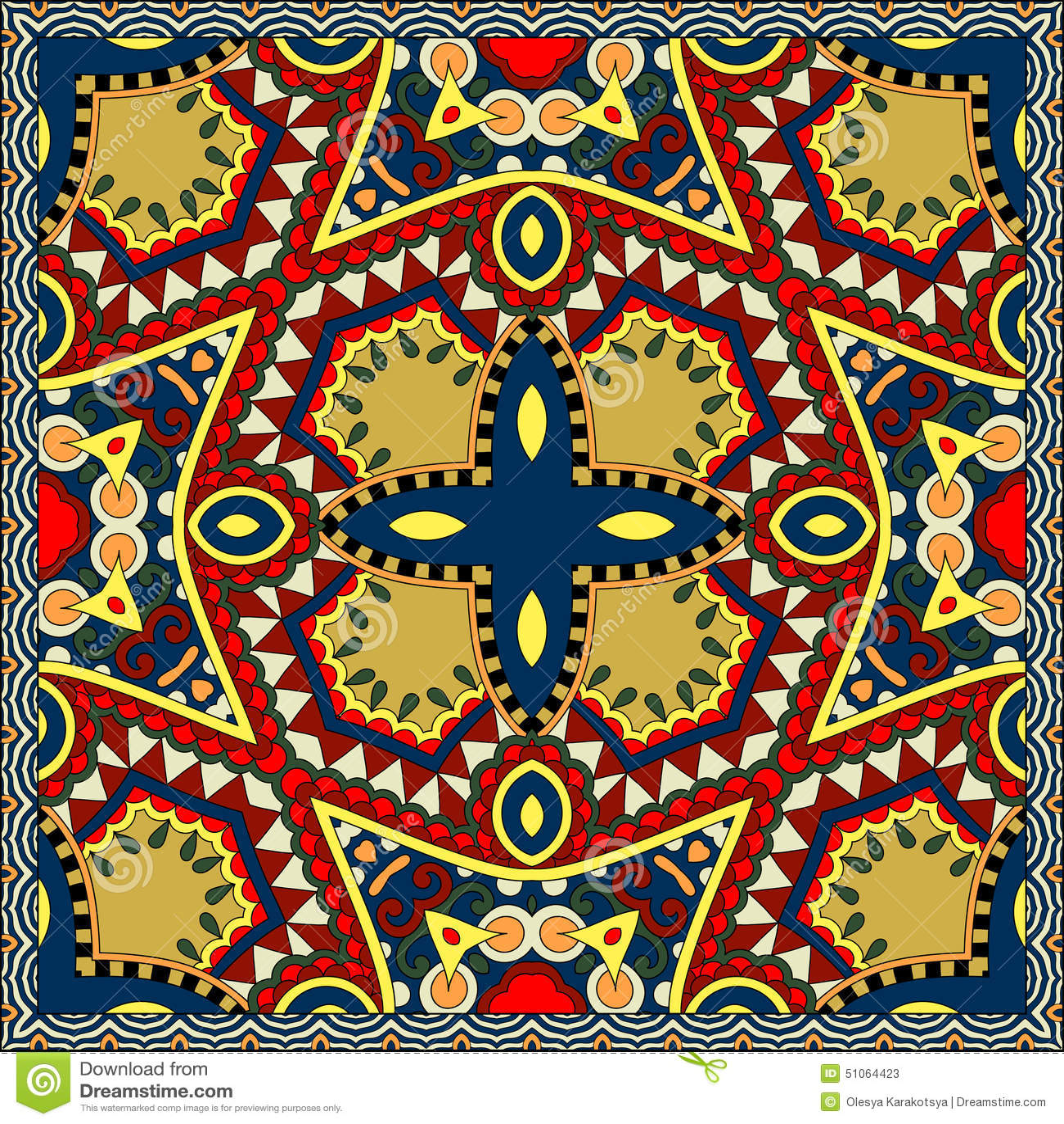 在乌克兰karakoko样式的丝绸围巾或方巾方形的样式设计在织品,传染图片