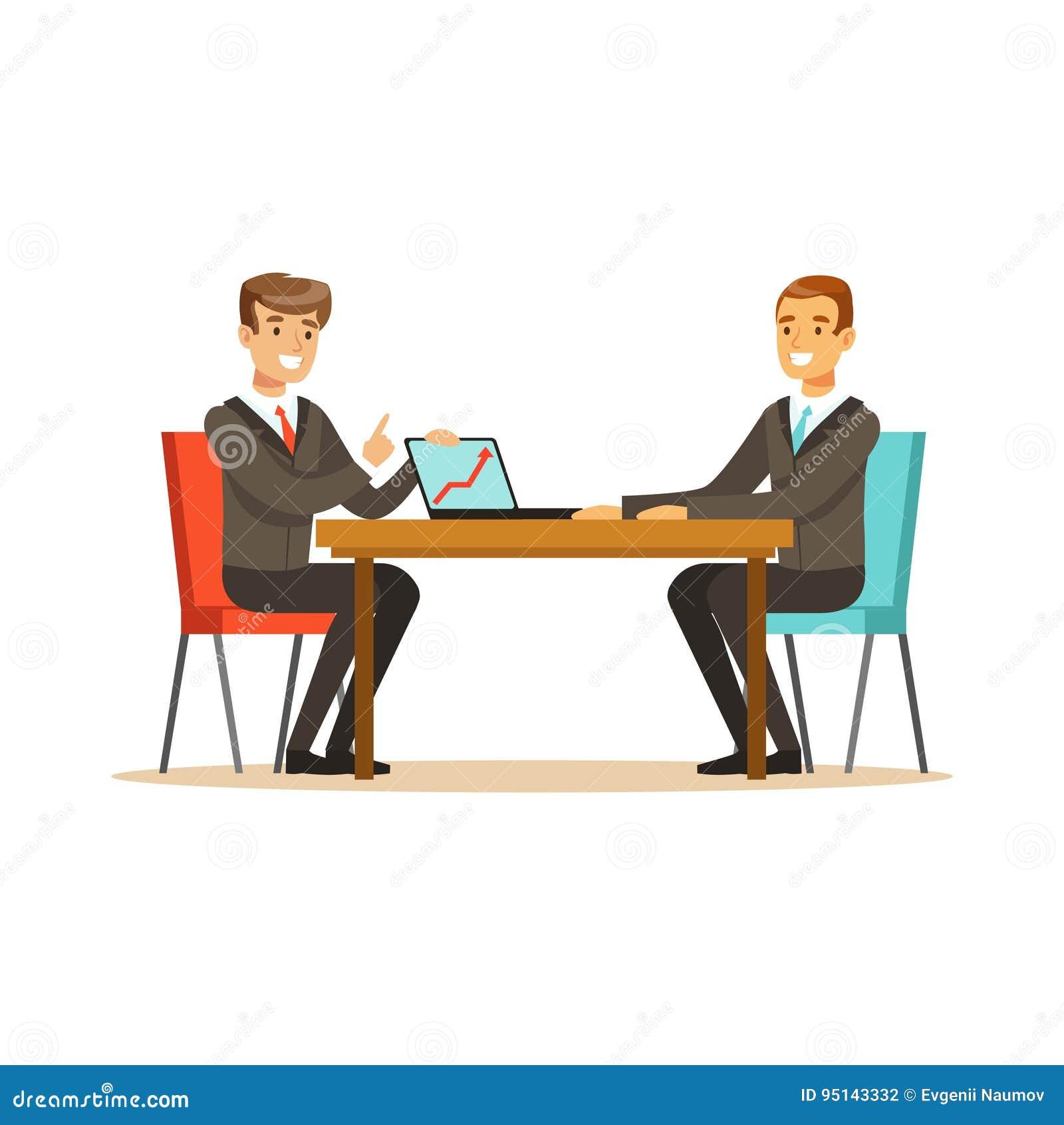 两个商人在业务会议上谈论新的项目与膝上型计算机在办公室传染媒介例证