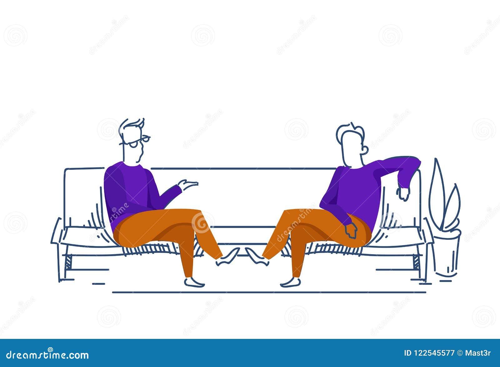 两个商人通信松弛沙发企业交涉概念男性上色了剪影剪影乱画