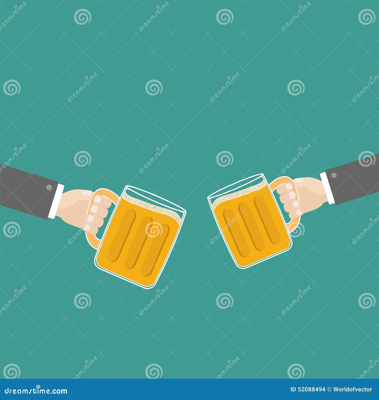 两个手和叮当声啤酒杯抢劫与泡沫盖帽泡沫泡影 平的设计