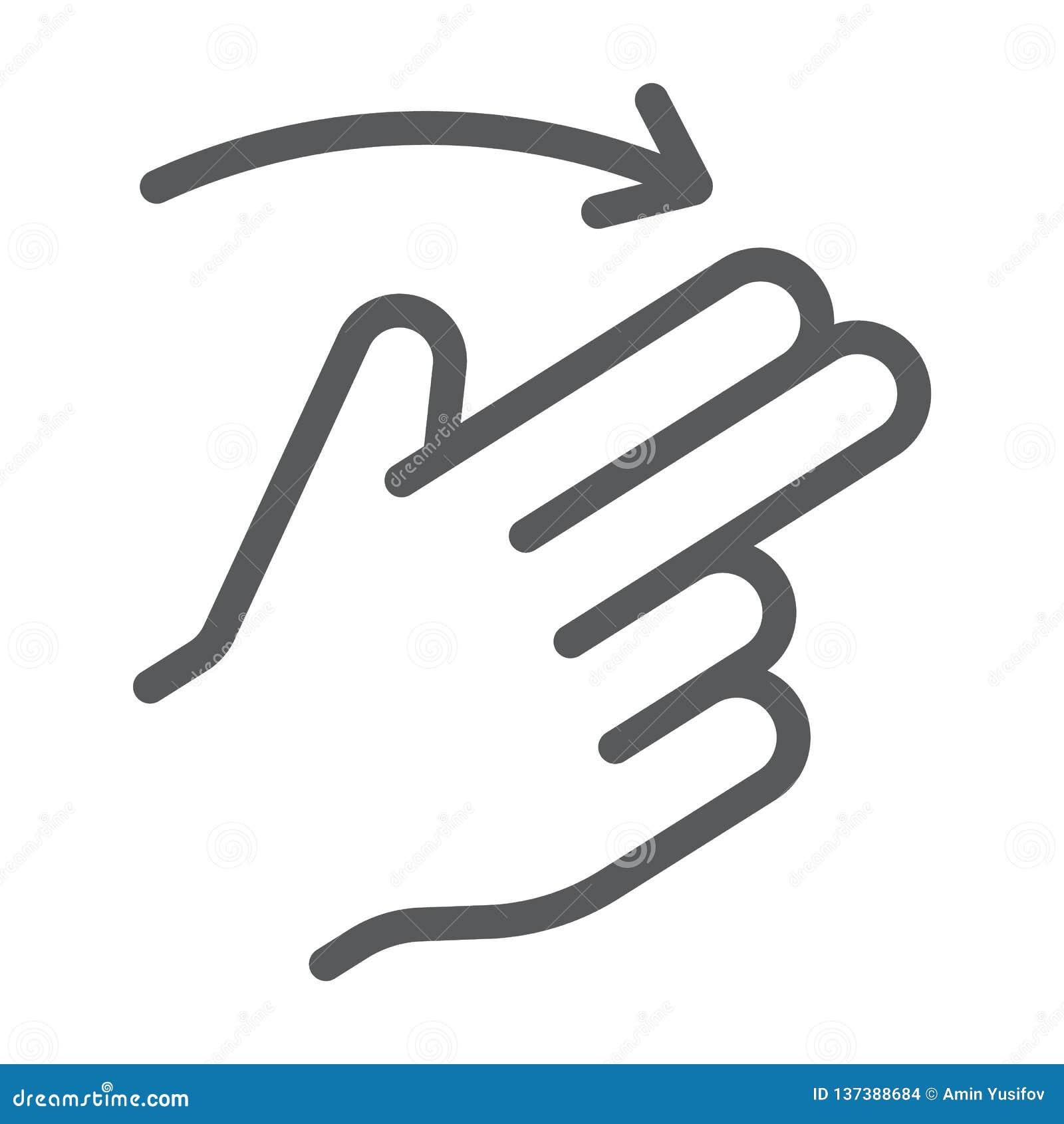 两个手指轻打正确的线象,姿态和手,重击标志,向量图形,在白色背景的一个线性样式