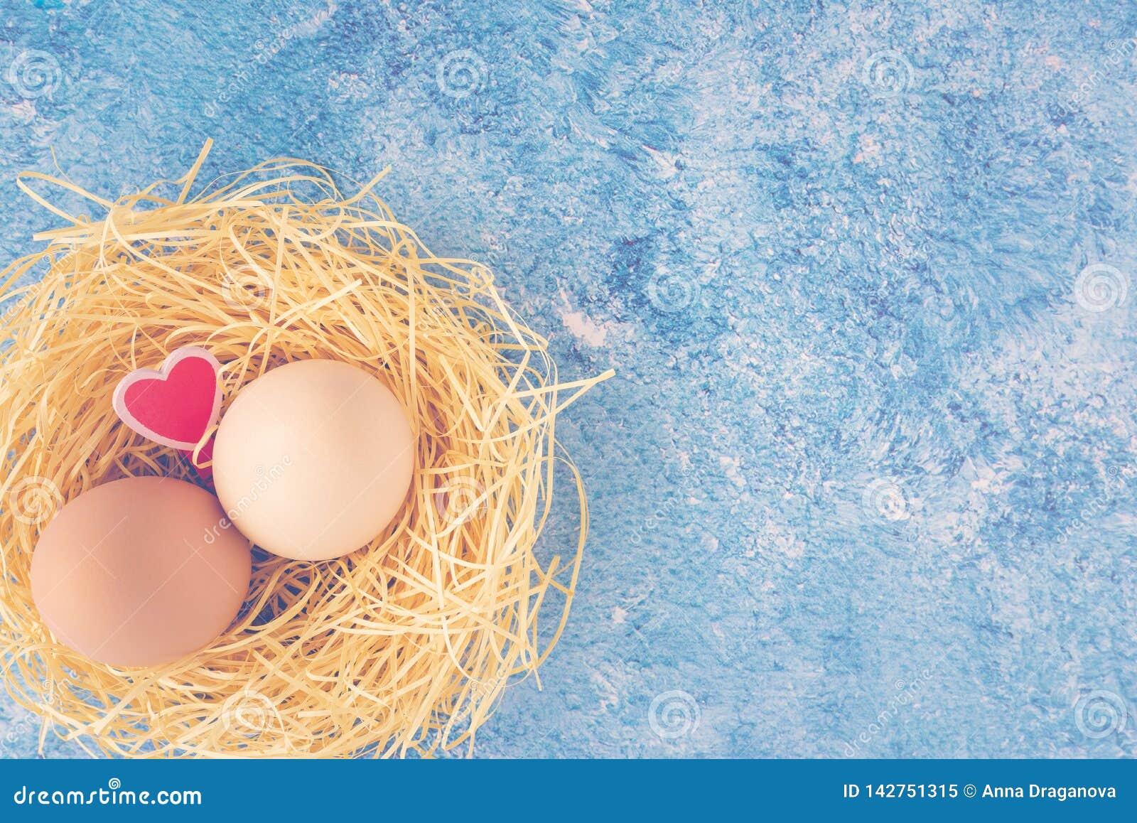 两个新鲜的鸡鸡蛋顶视图在秸杆巢和装饰木心脏在蓝色背景 愉快复活节的问候