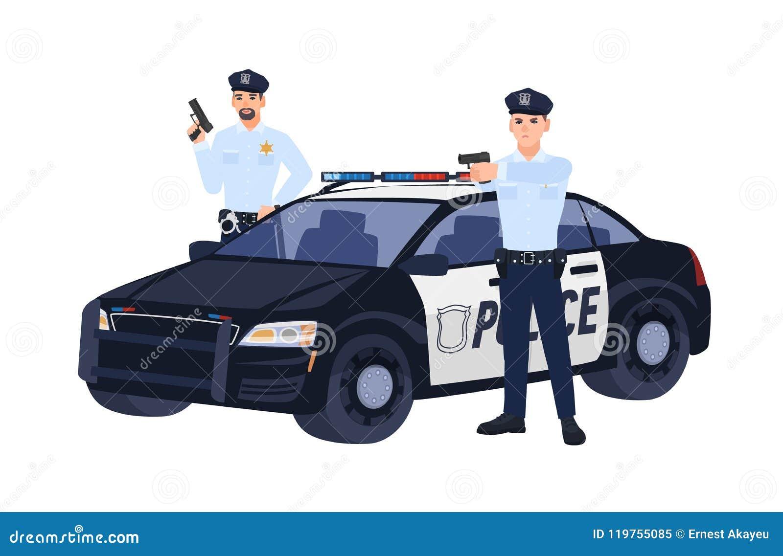 两个警察或警察站立近的汽车,拿着枪和瞄准他们的制服的某人 警察行动 平面