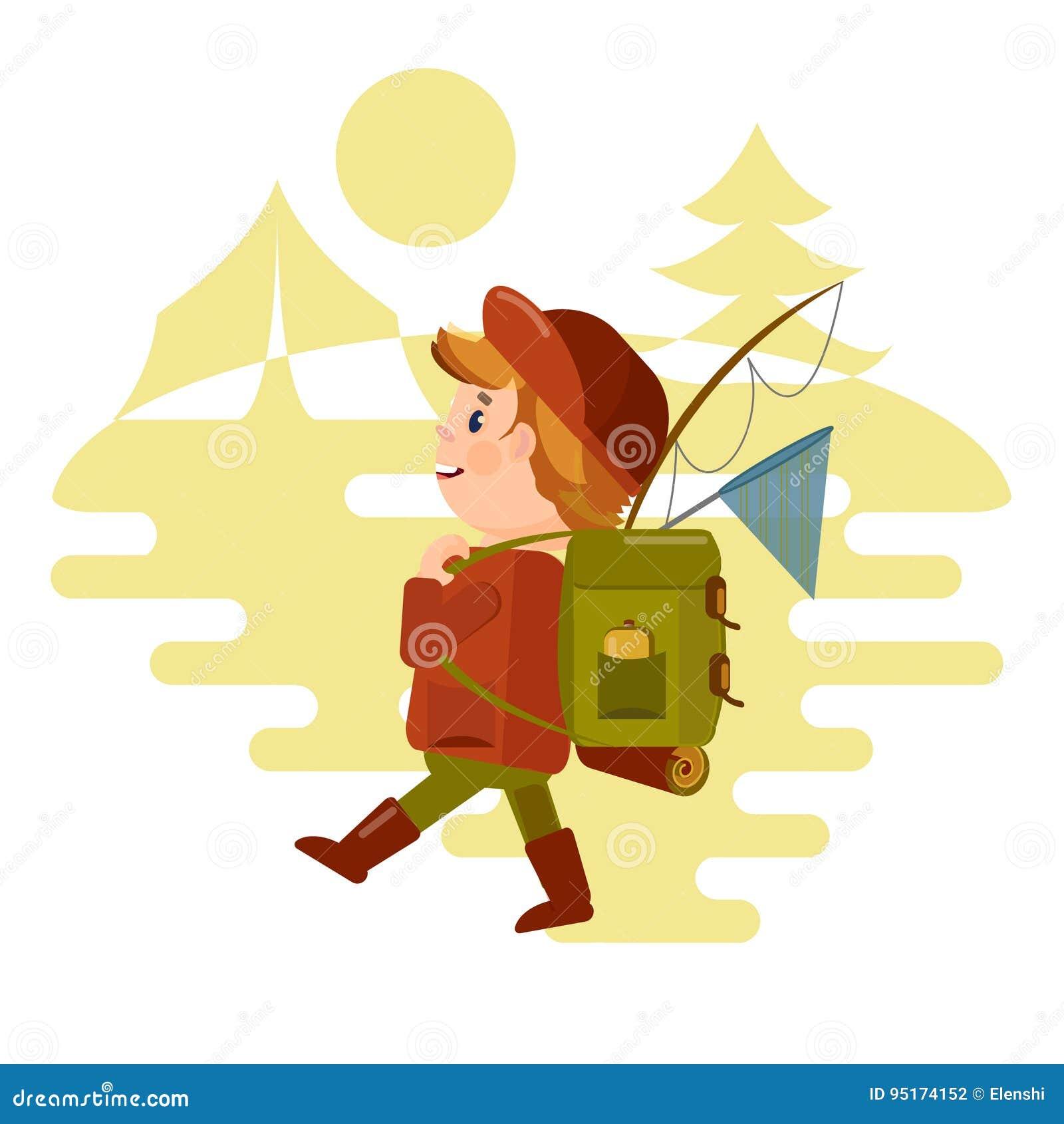 两个年轻人旅游与背包在远足去以自然为背景 仿照Th样式的传染媒介