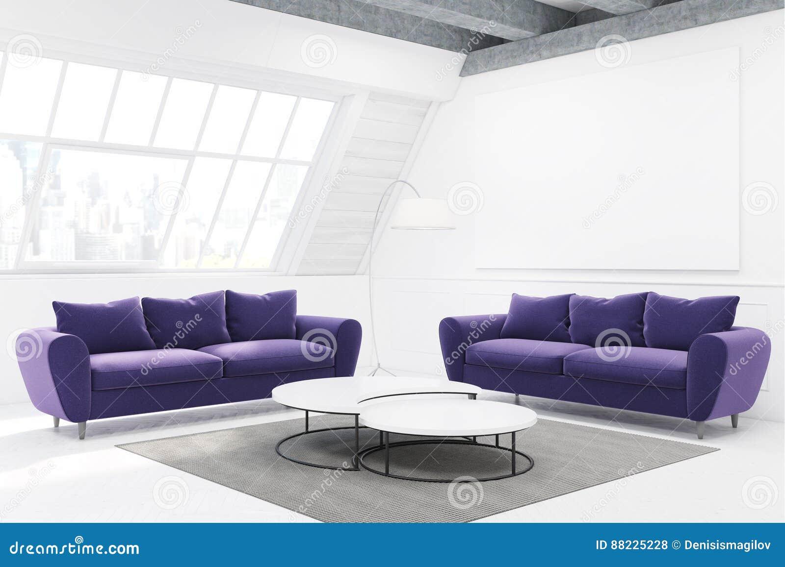 两个紫色沙发和桌,侧视图