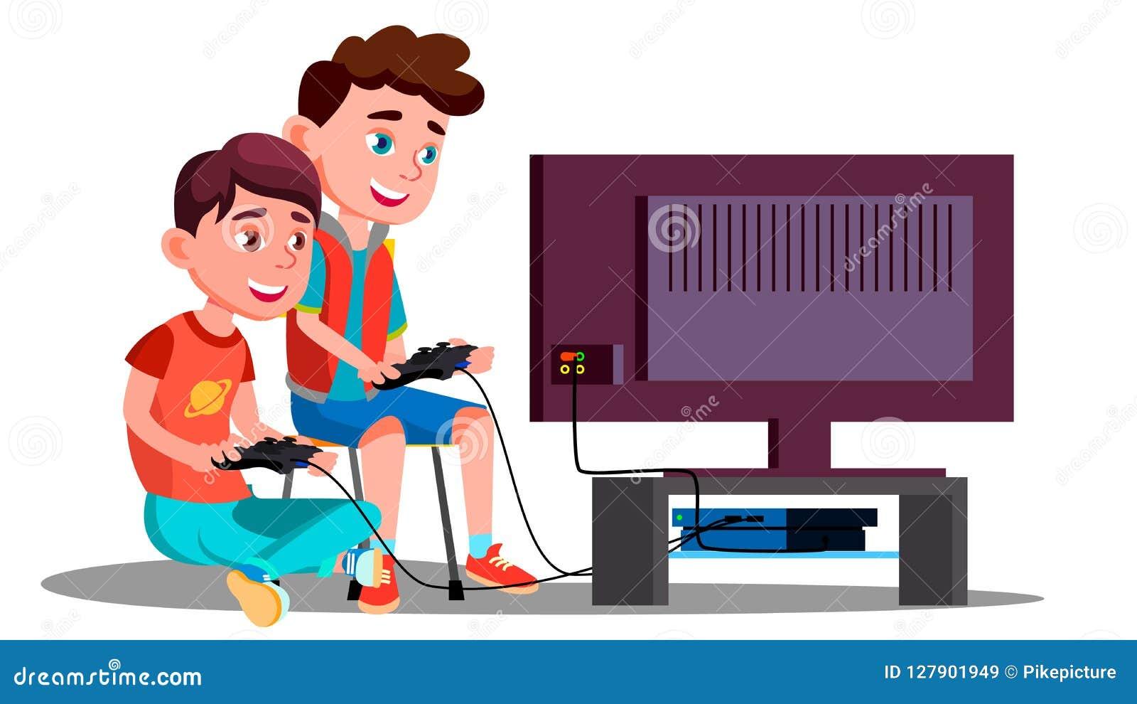 两儿童男孩戏剧电子游戏传染媒介 按钮查出的现有量例证推进s启动妇女