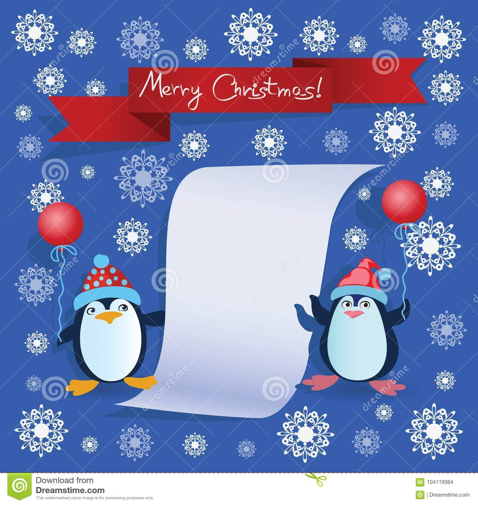 两只企鹅和题字圣诞快乐!