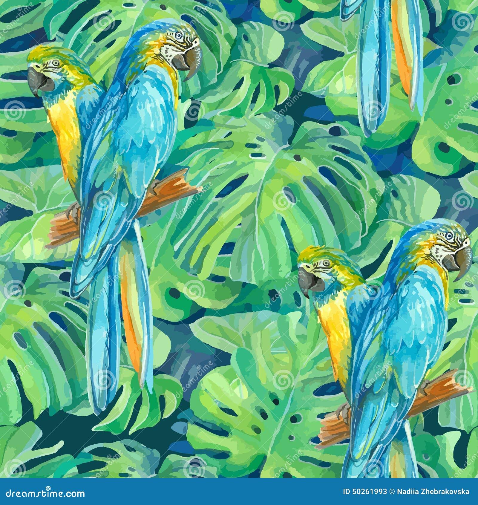 两只ara鹦鹉的无缝的样式元素和
