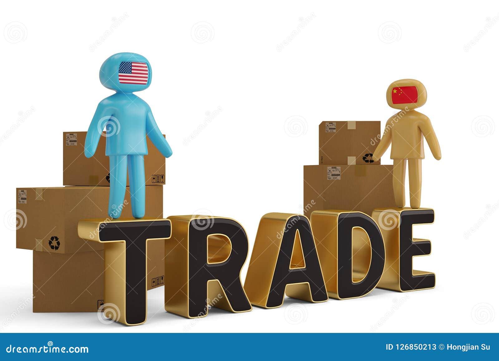 两在商业信件和纸盒3D例证的图人们
