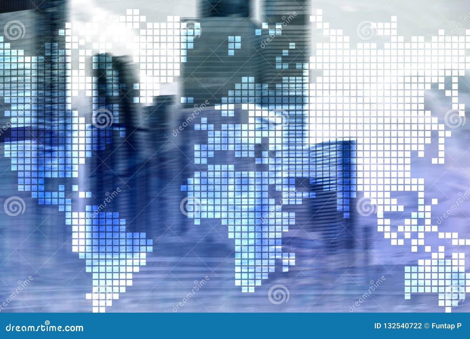 两次曝光在摩天大楼背景的世界地图 通信和全球企业概念