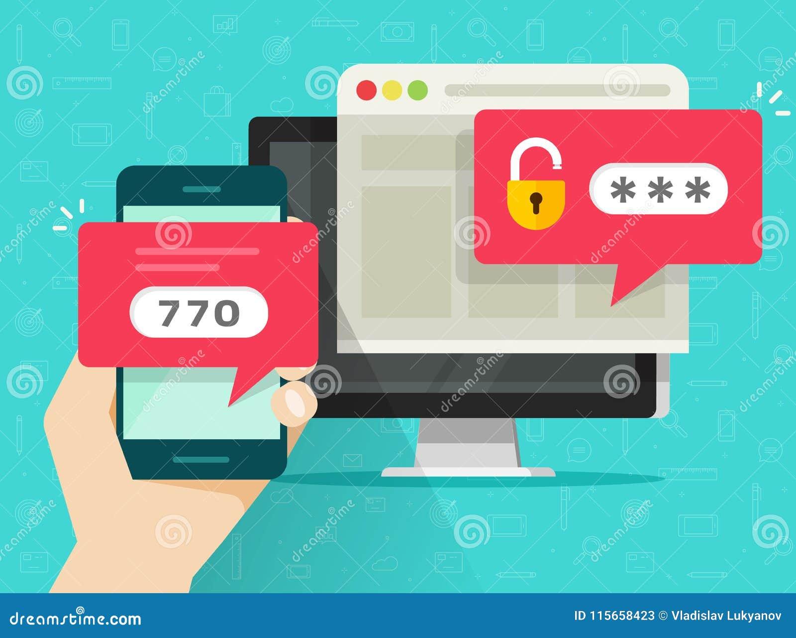两步认证传染媒介例证、平的动画片智能手机和计算机安全注册或者signin,两步