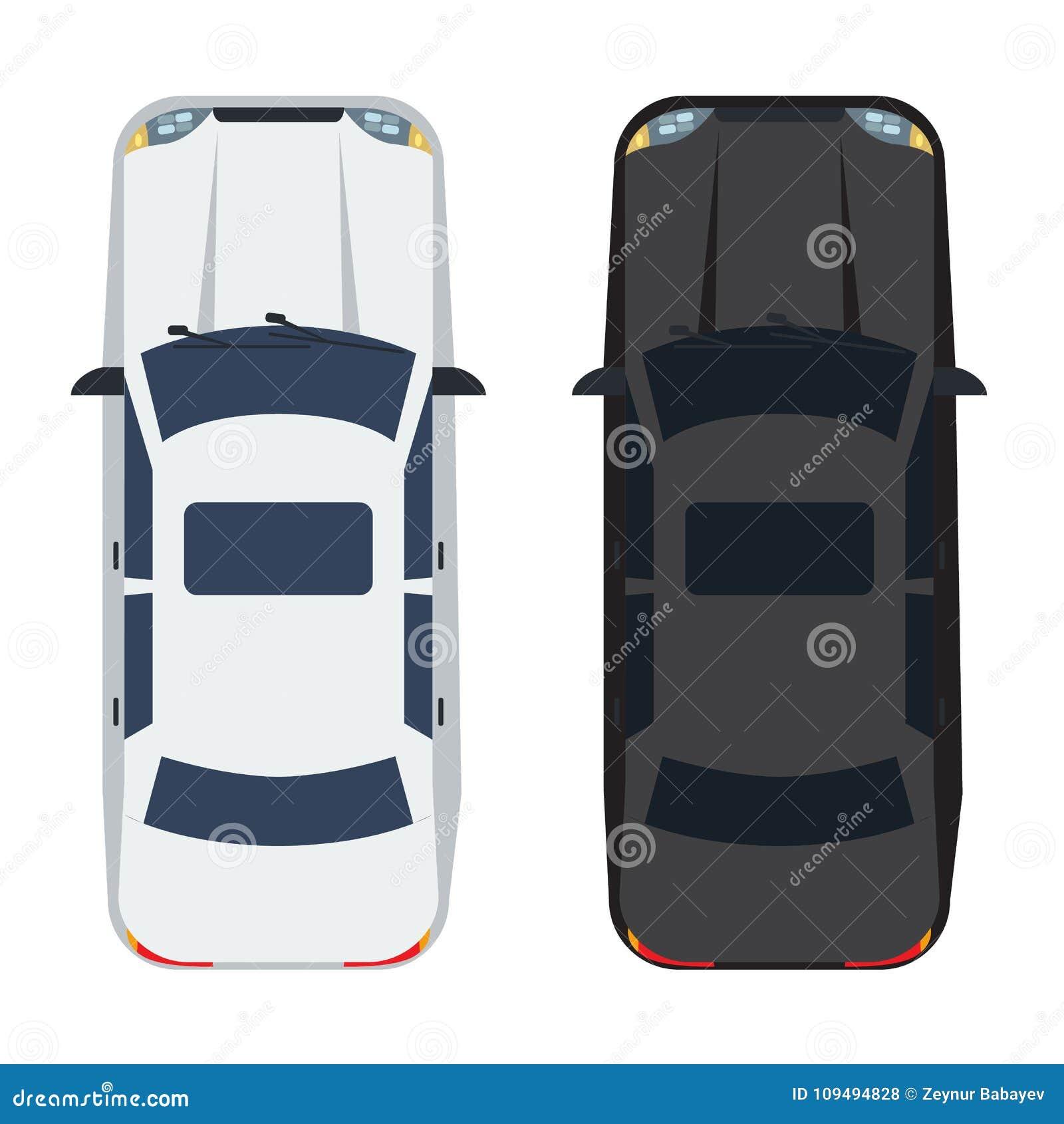 两白色和黑轿车汽车有顶视图 坚实和平的颜色样式设计