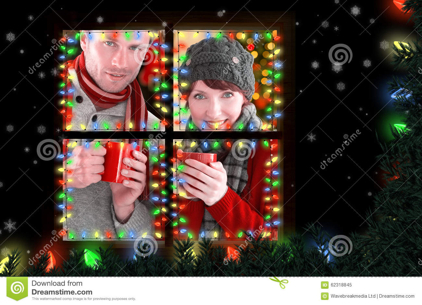 两的夫妇的综合图象有温暖的饮料