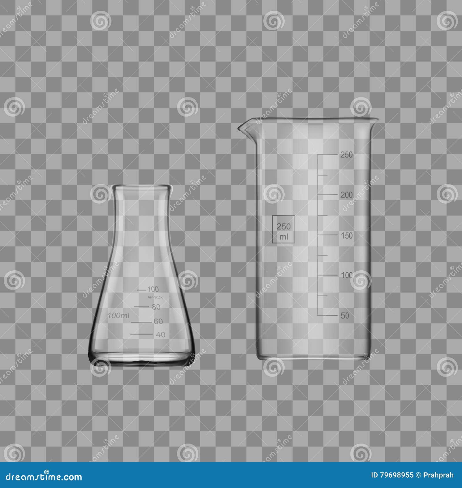 两种化学制品实验室玻璃器皿或烧杯 玻璃设备空的清楚的试管