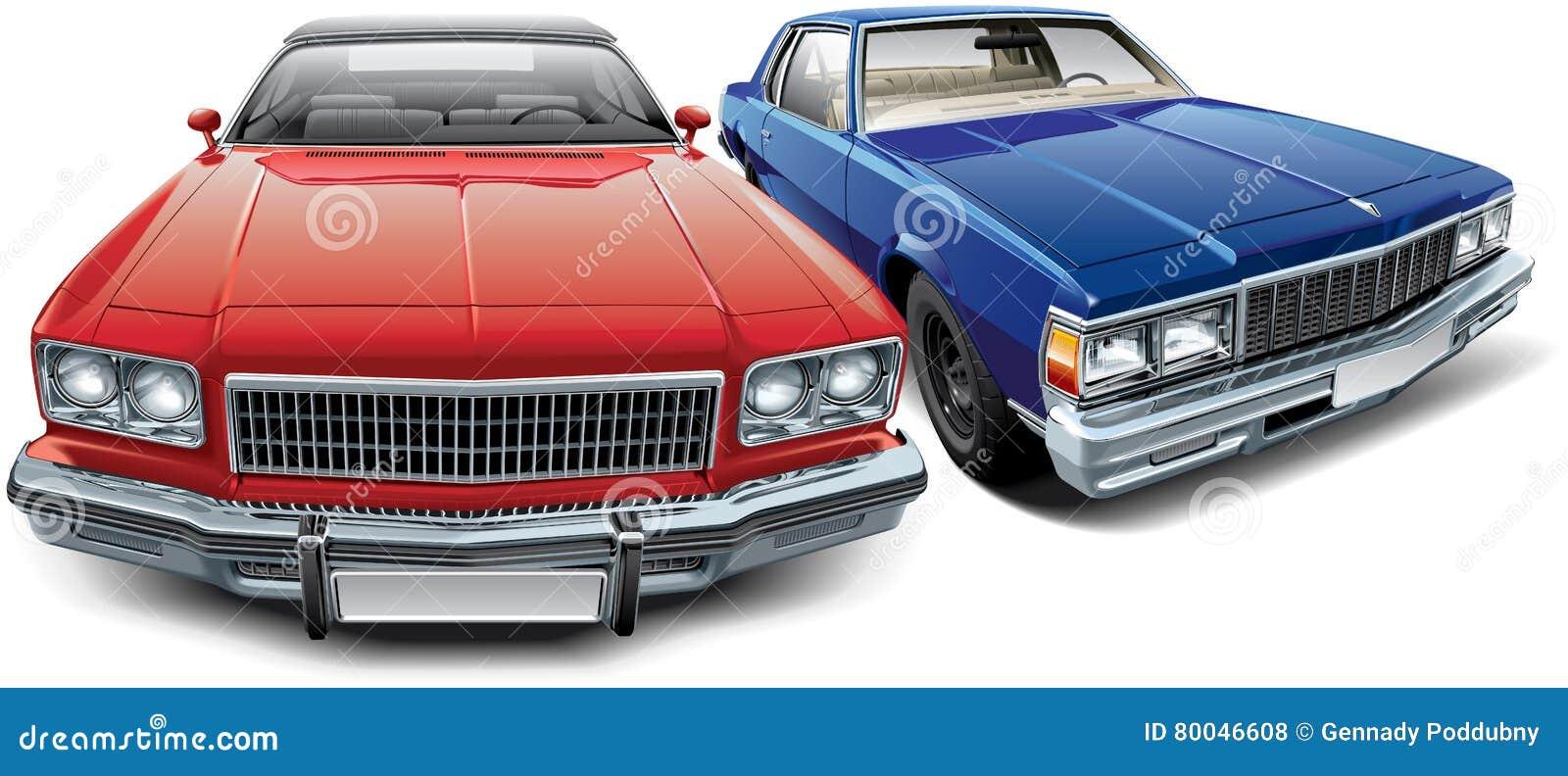两辆美国葡萄酒汽车