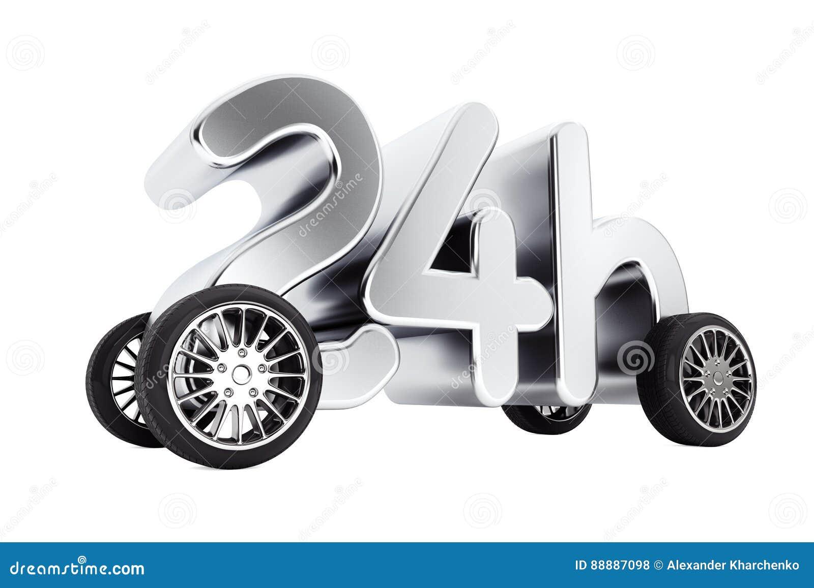 24个小时服务和交付概念在轮子 3d翻译