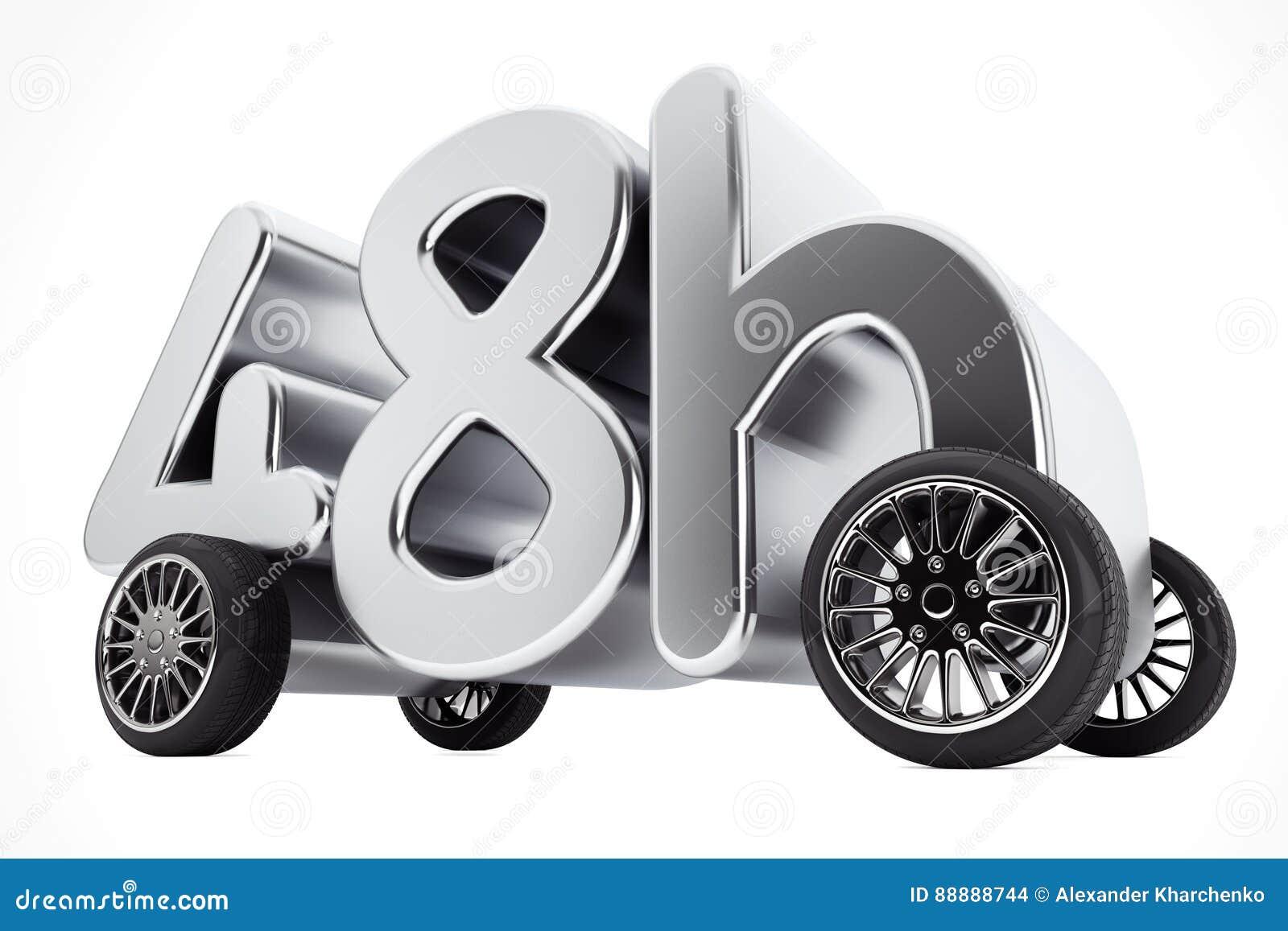 48个小时服务和交付概念在轮子 3d翻译