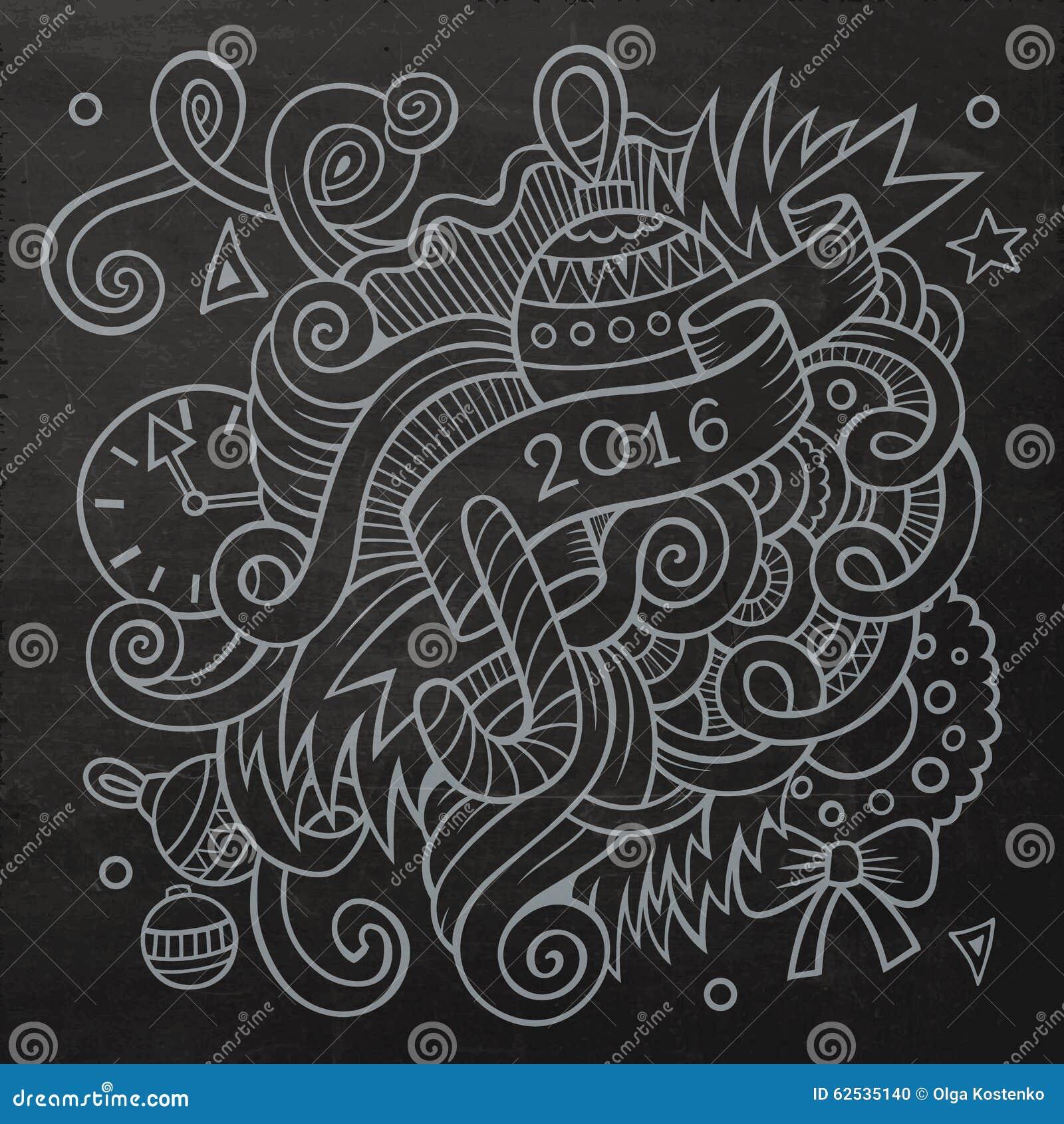 2016个新年乱画元素背景 向量