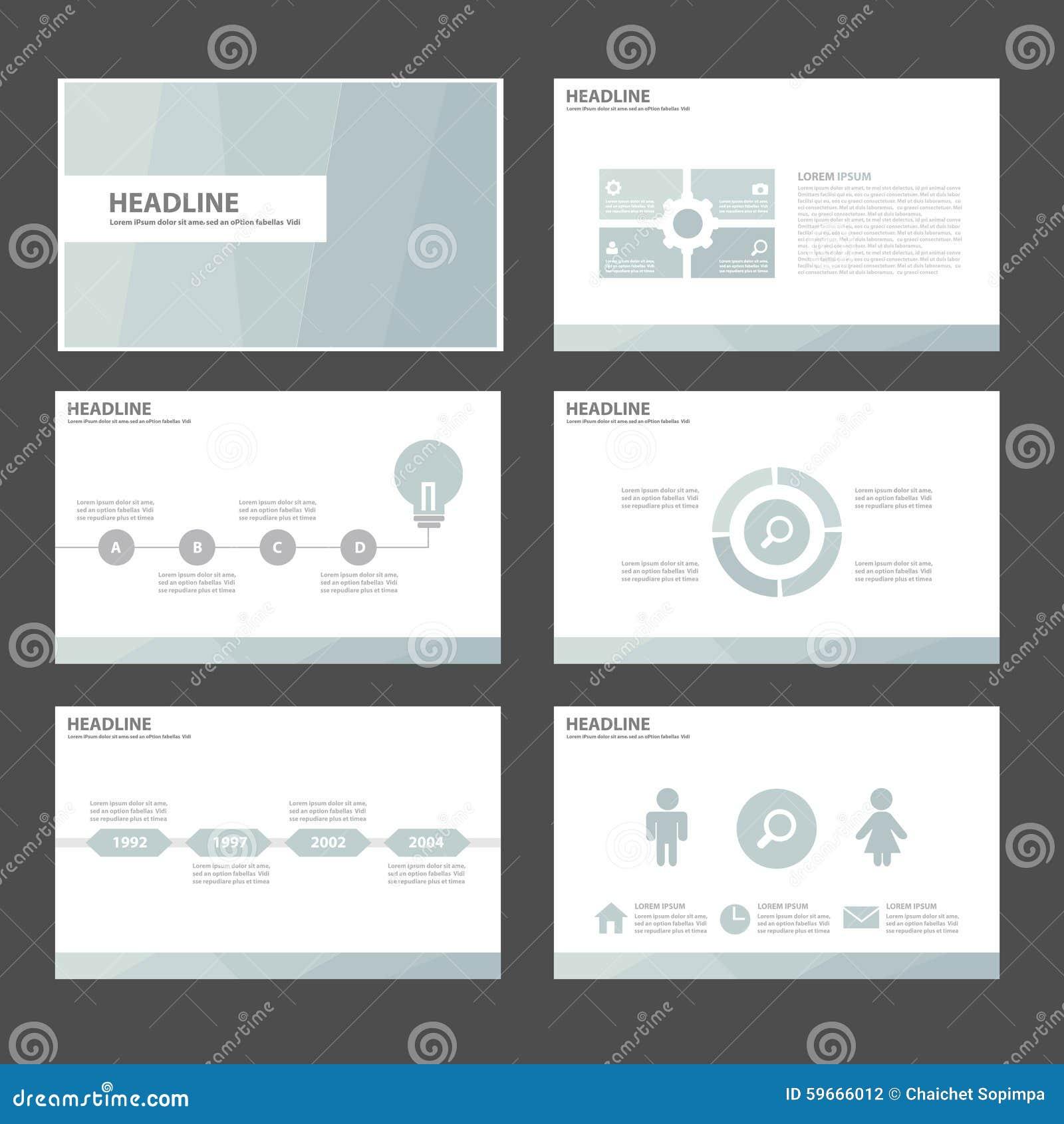 6个蓝色多用途Infographic元素和象介绍模板平的设计为给营销小册子飞行物做广告设置了