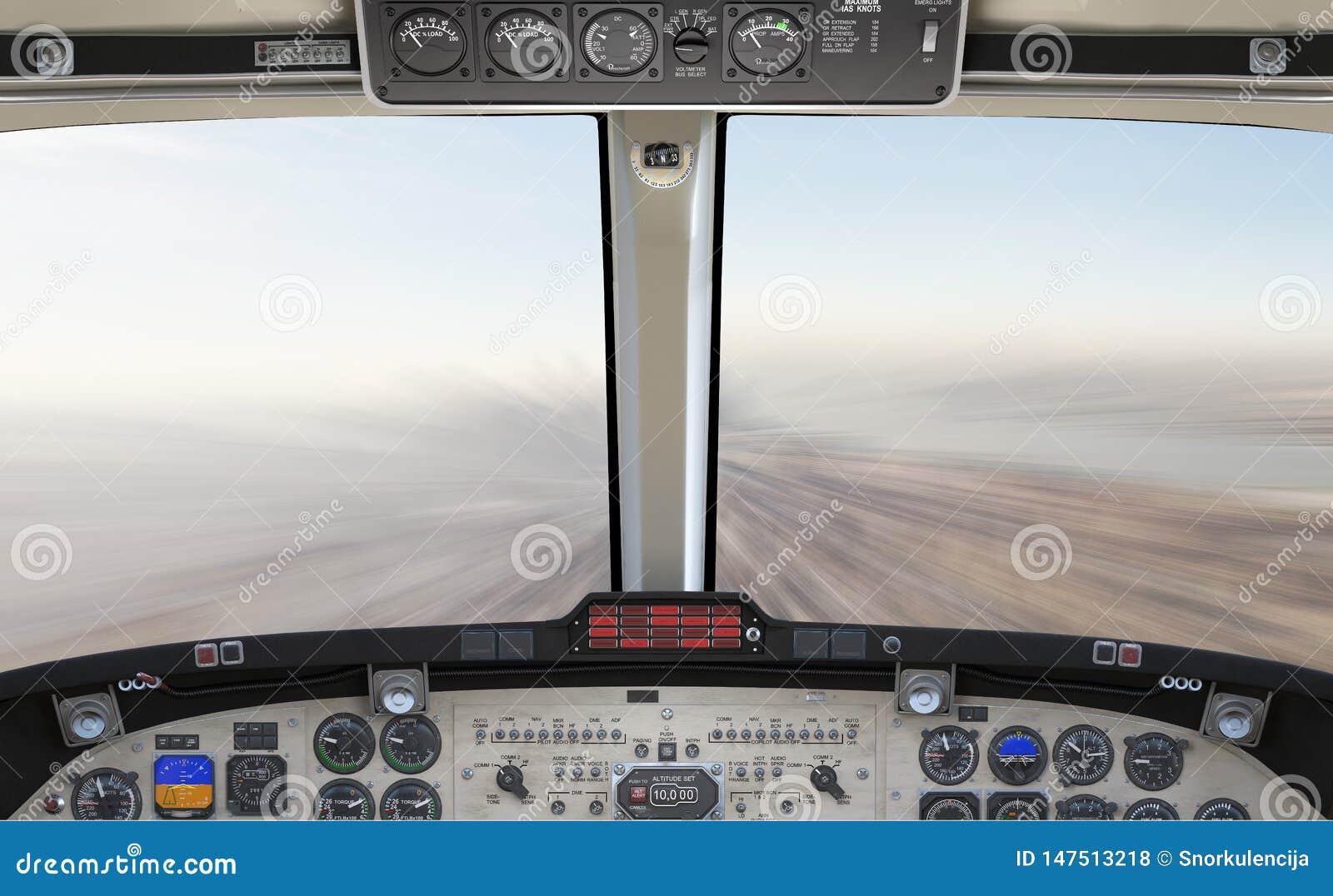 69个飞机驾驶舱的megapixel高细节3d例证,快速地飞行在城市上,背景场面,概念,模板