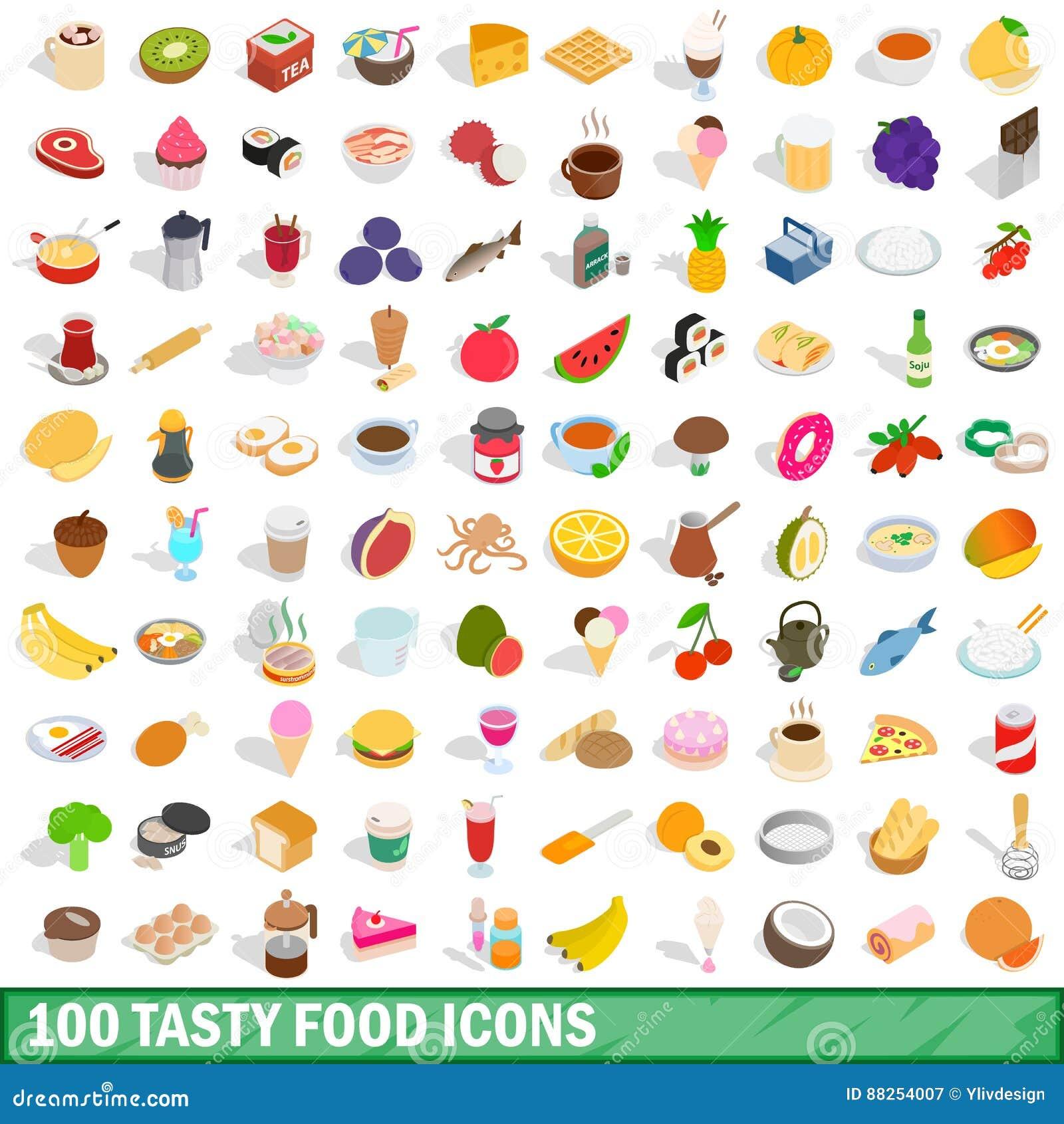 100个鲜美食物象设置了,等量3d样式