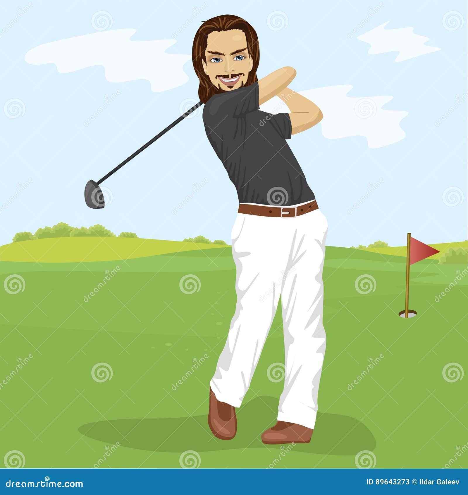 击中与俱乐部的男性高尔夫球运动员高尔夫球球击在路线