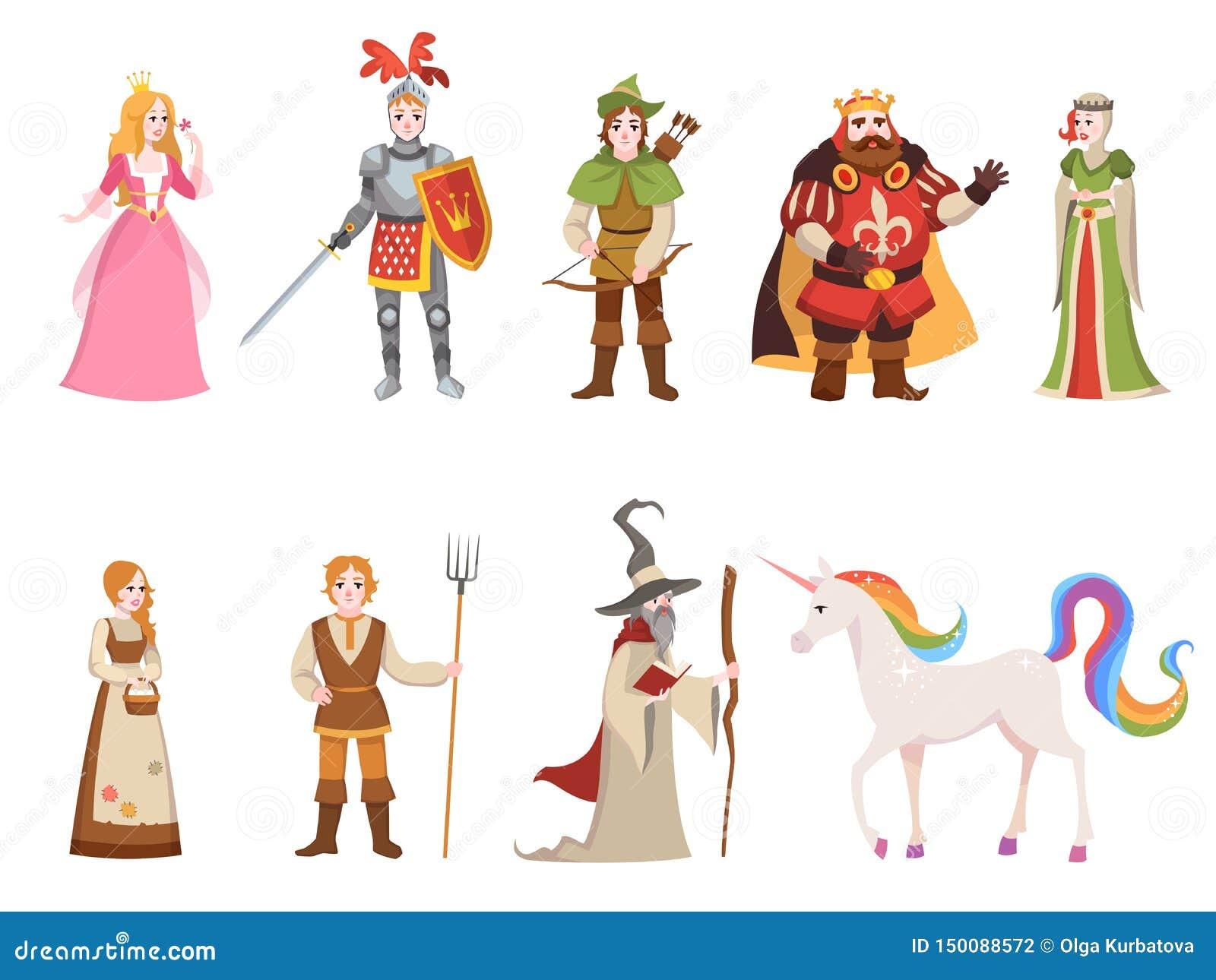 中世纪历史字符 骑士国王女王/王后王子公主神仙的皇家城堡龙马巫婆集合动画片