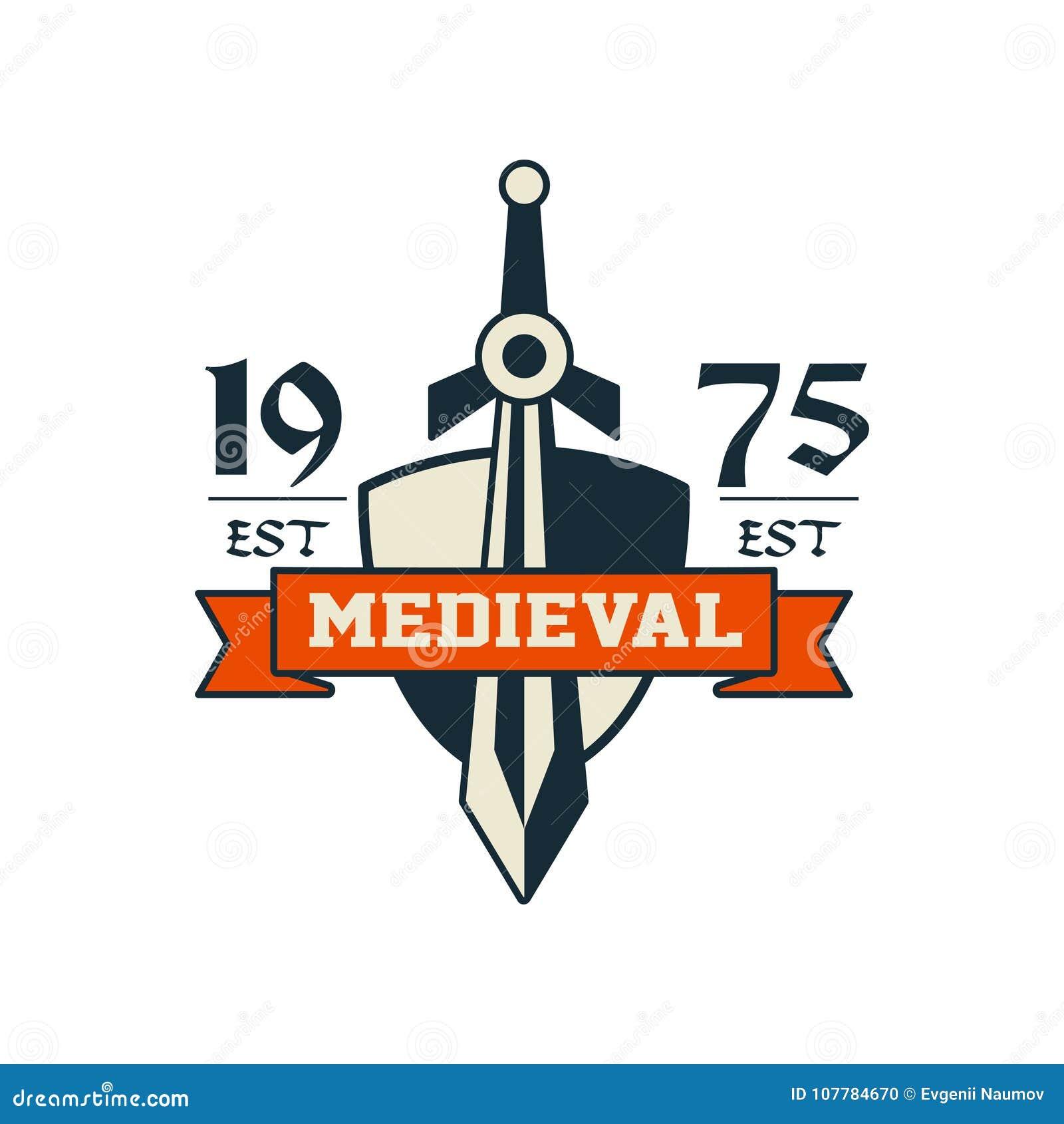 中世纪商标、est 1975年,葡萄酒徽章或者标签,纹章元素传染媒介例证