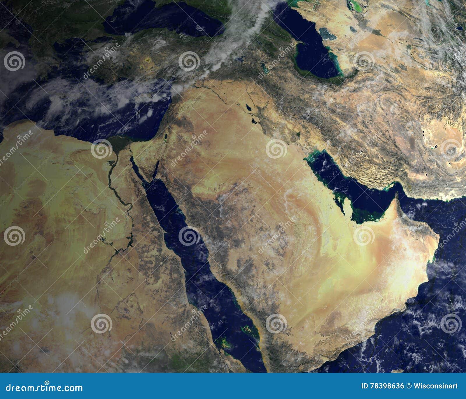 中东,卫星空间视图