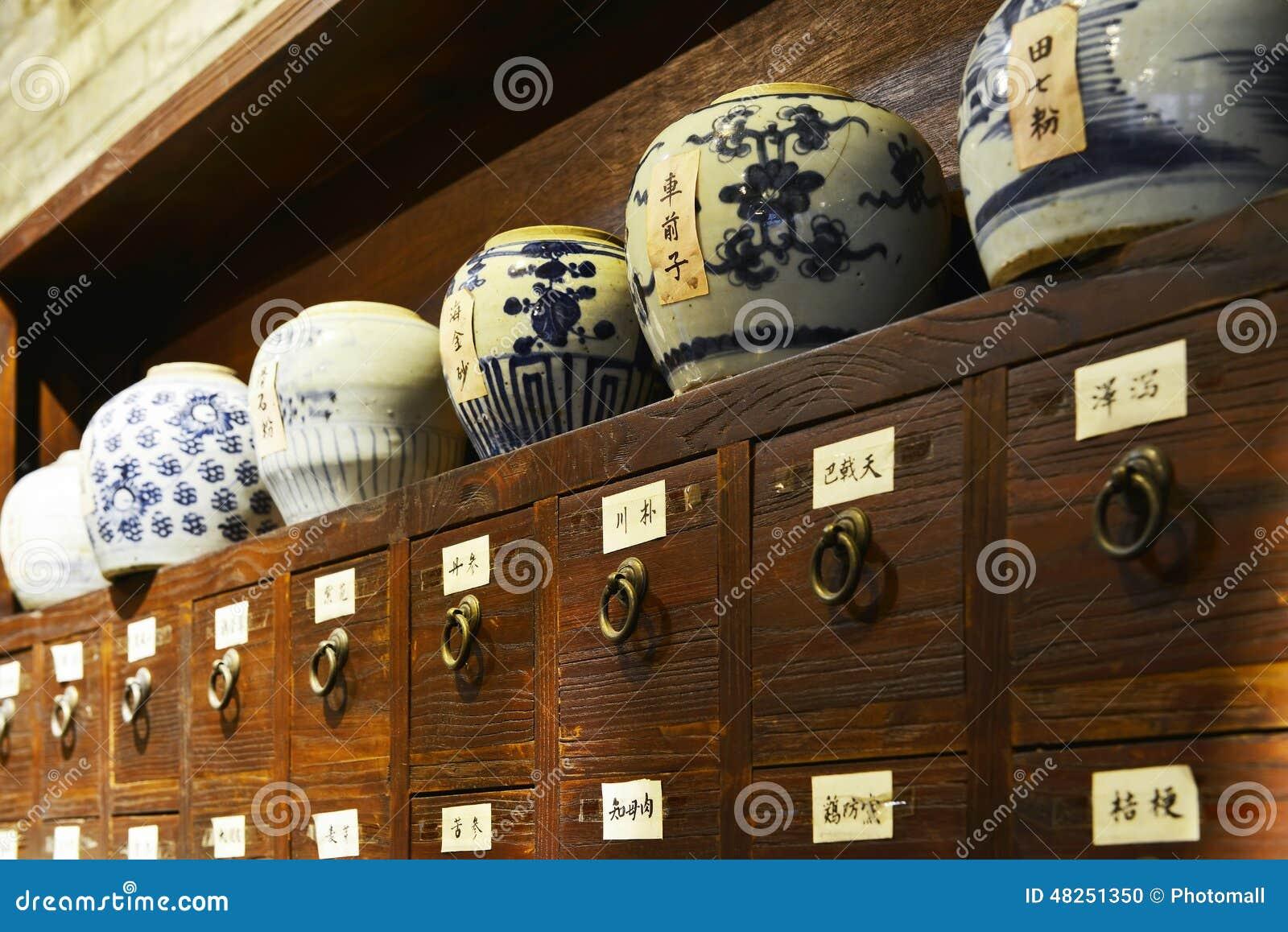 中国传统医学商店或老中国药房