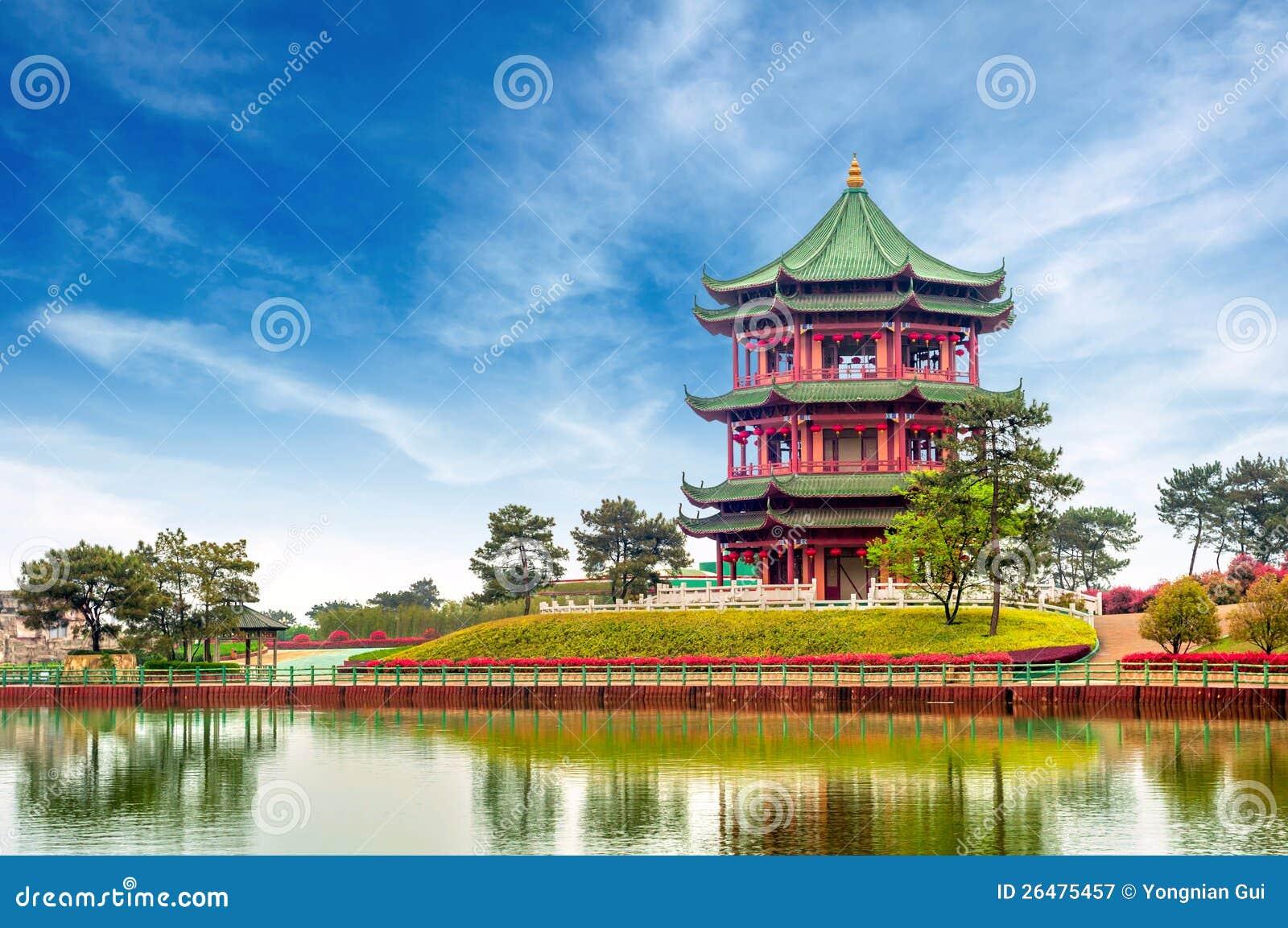 中国古老大厦: 庭院。