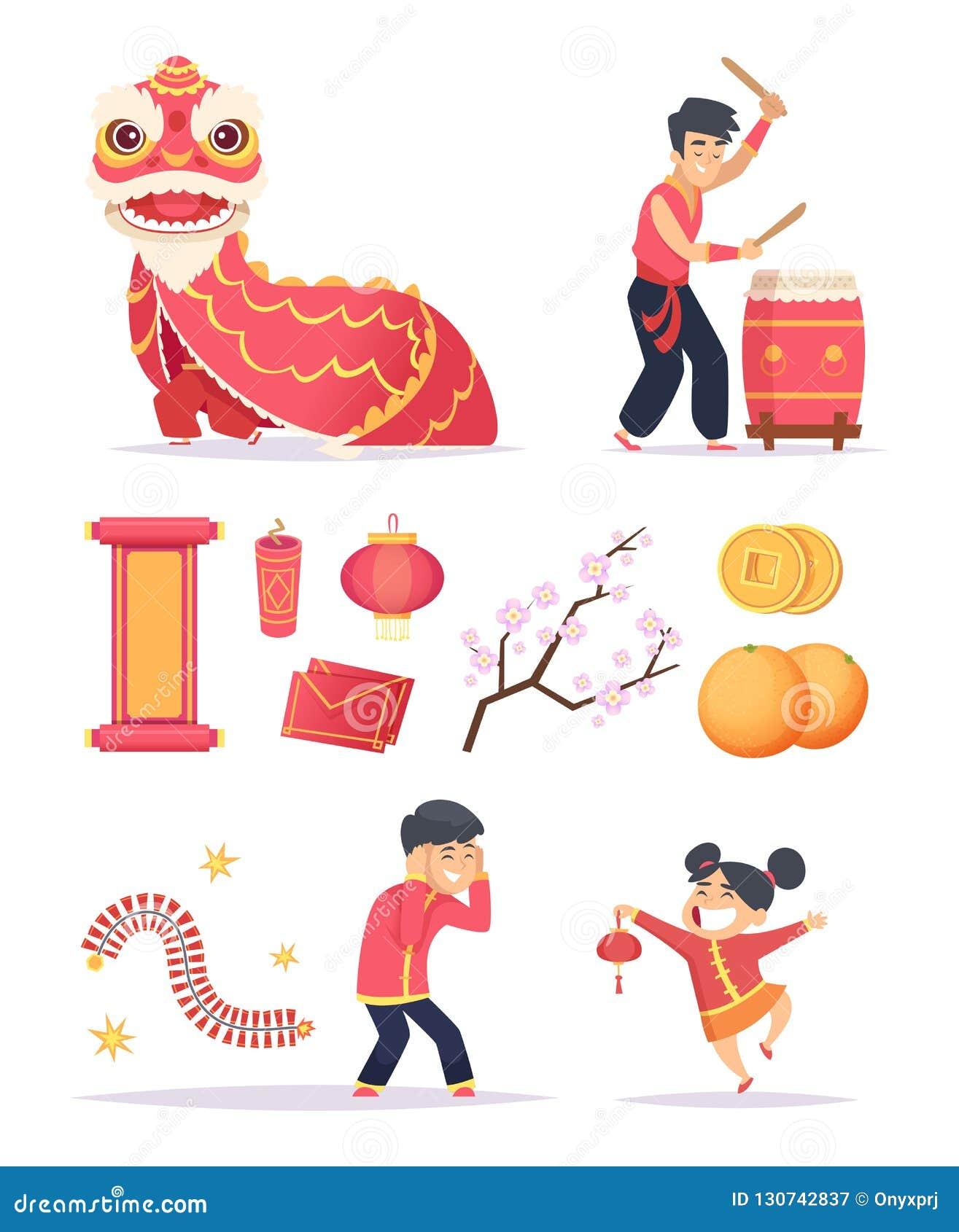 中国新年度 龙爆竹纸灯和愉快的孩子字符庆祝2019张传染媒介图片