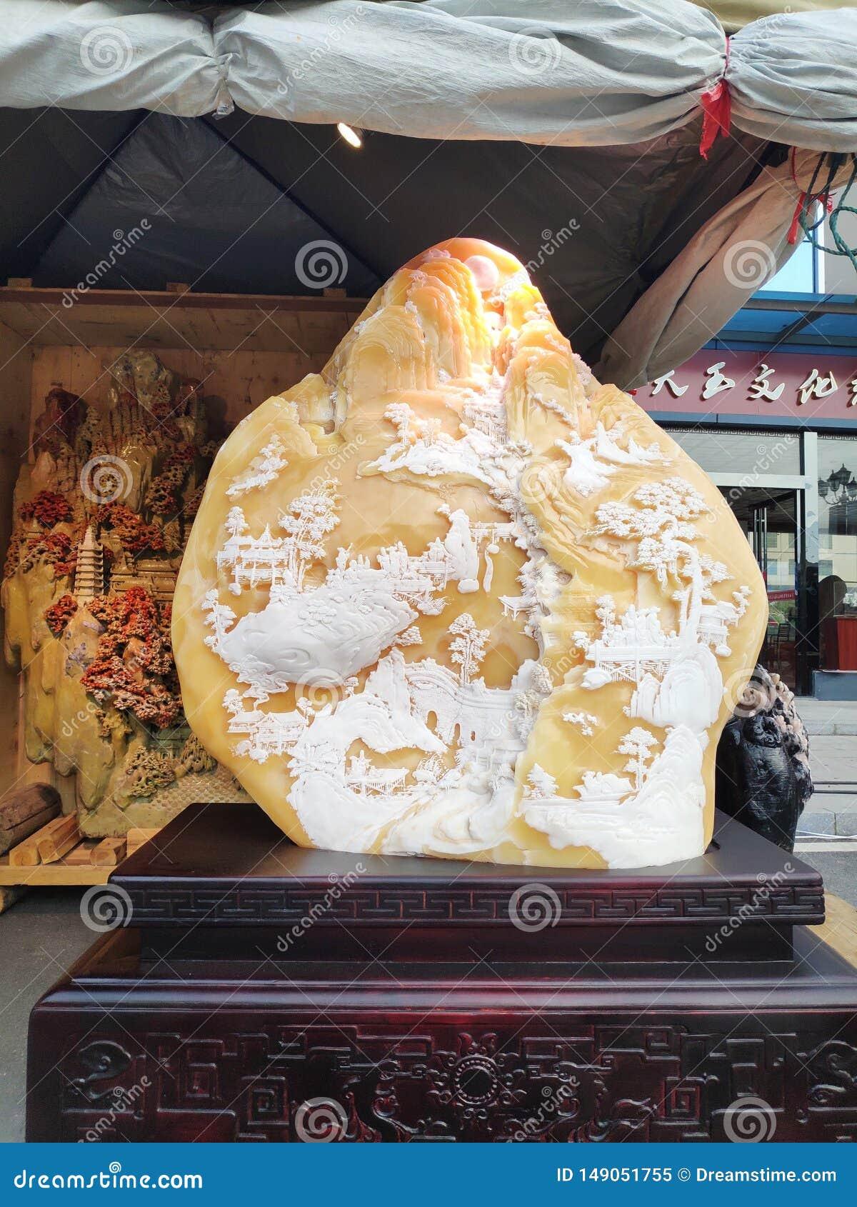 中国美丽的玉装饰石陈设品艺术作品