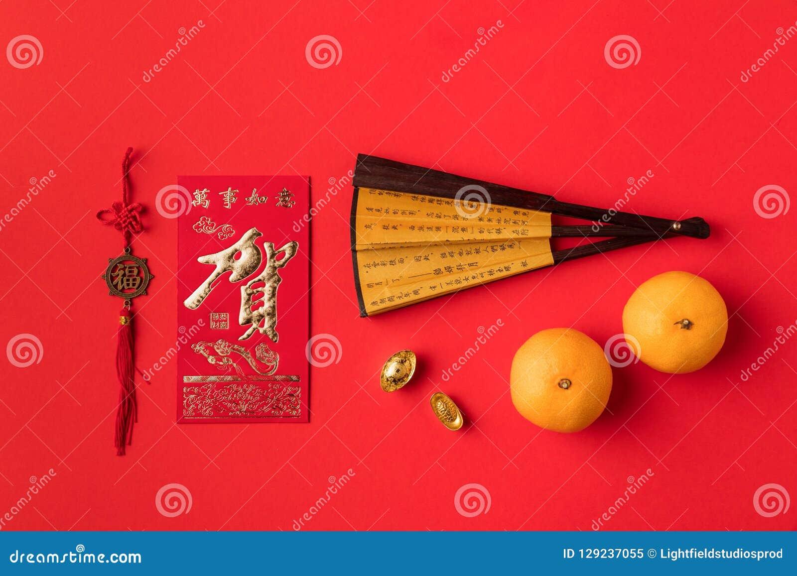 中国贺卡东方装饰和蜜桔顶视图