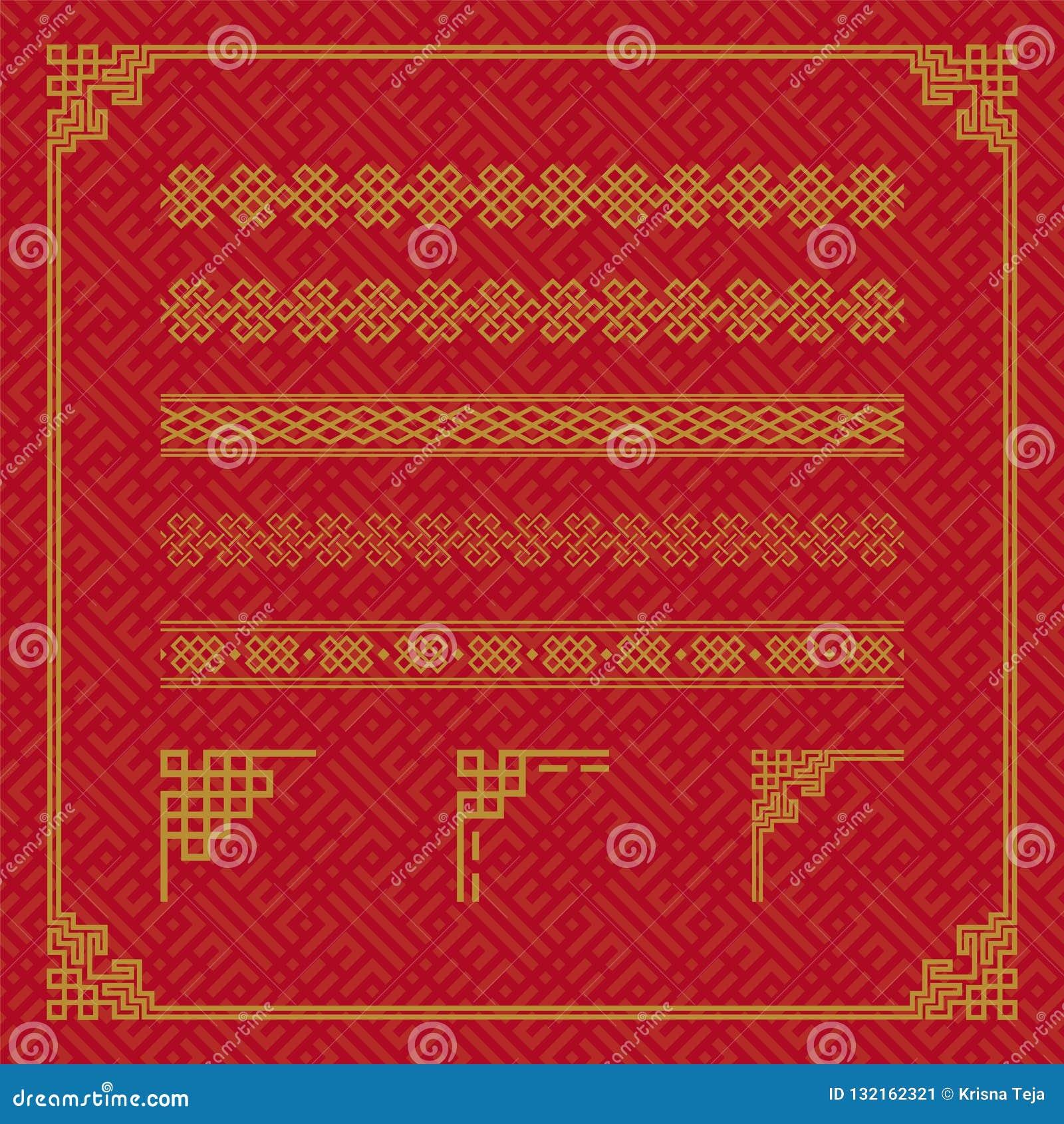 中国边界装饰品在各种各样的样式