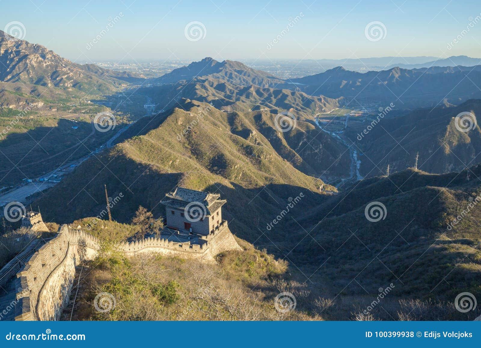 中国, Pekin,中国墙壁,日落,历史 2016年