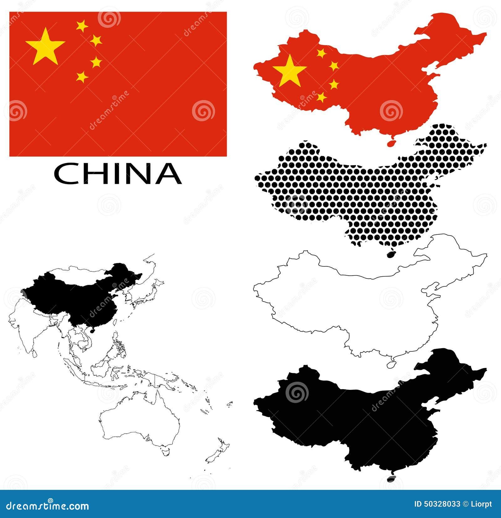 中国-等高线图,国旗和亚洲地图传染媒介