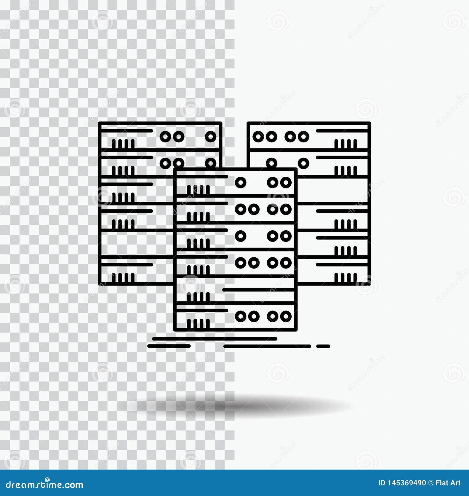 中心,中心,数据,数据库,在透明背景的服务器线象 r