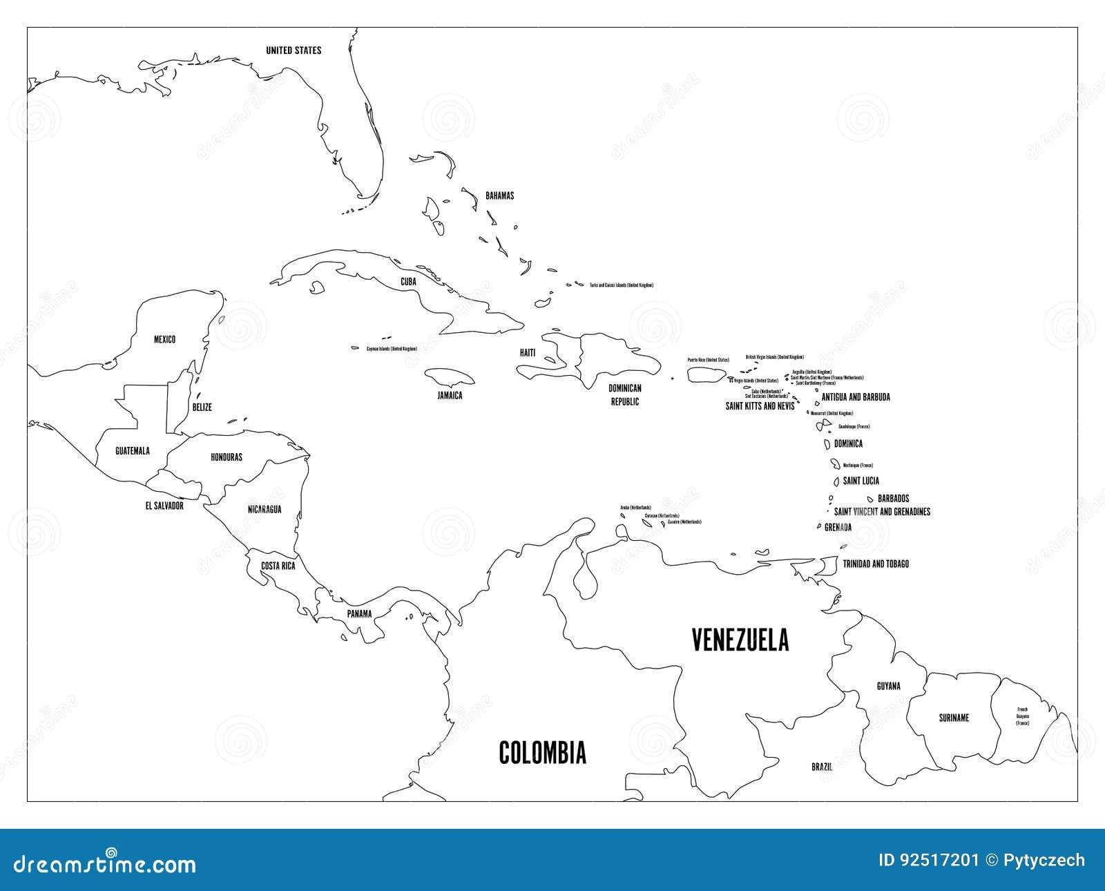 中美洲和加勒比状态政治地图 与黑国名标签的黑概述边界 简单的舱内甲板