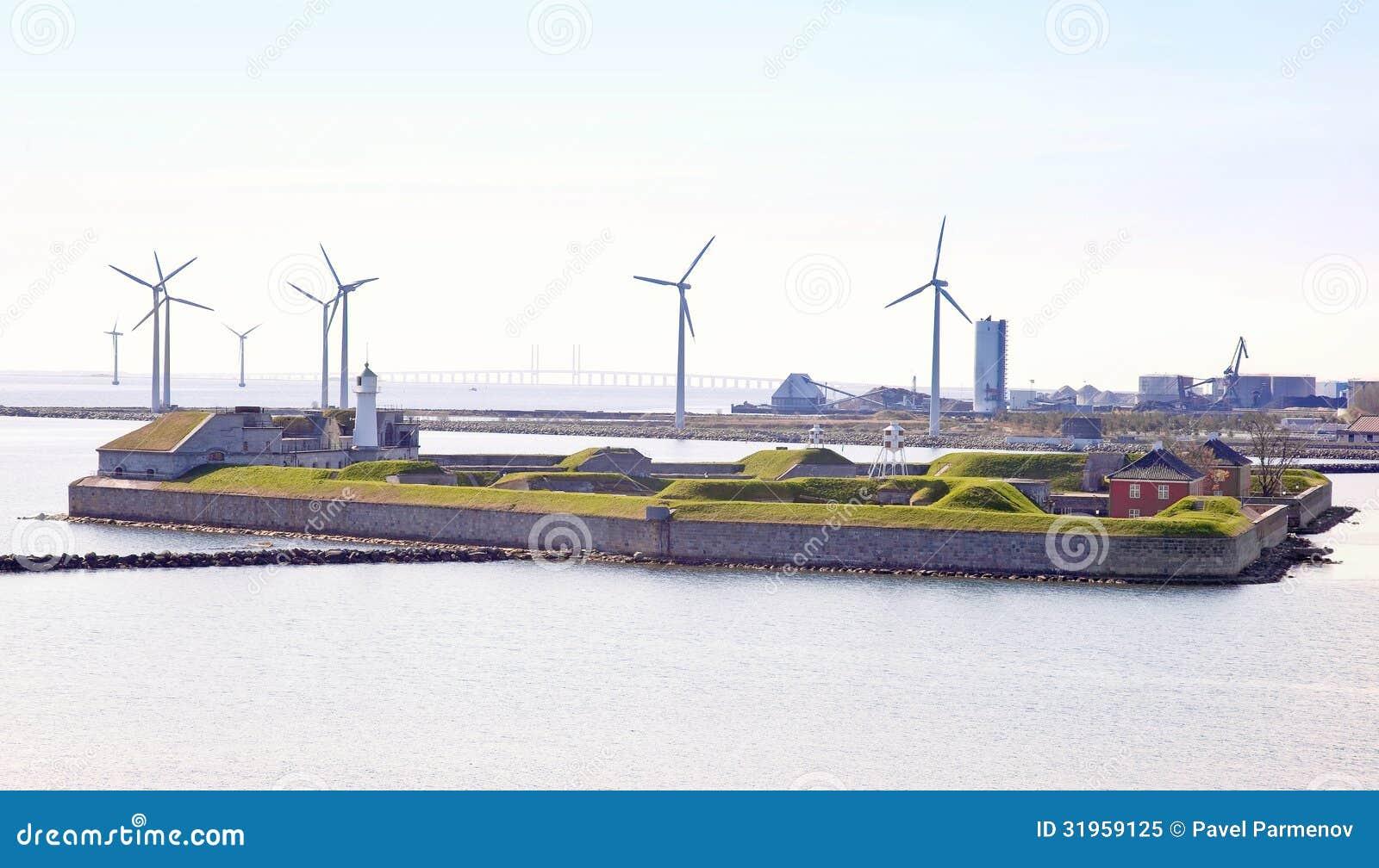 丹麦。堡垒Trekroner和造风机