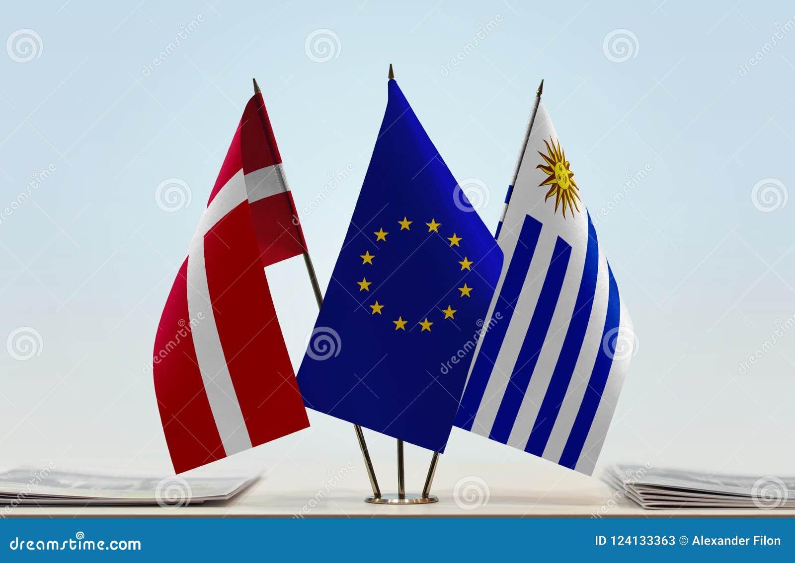 丹麦欧盟和乌拉圭的旗子