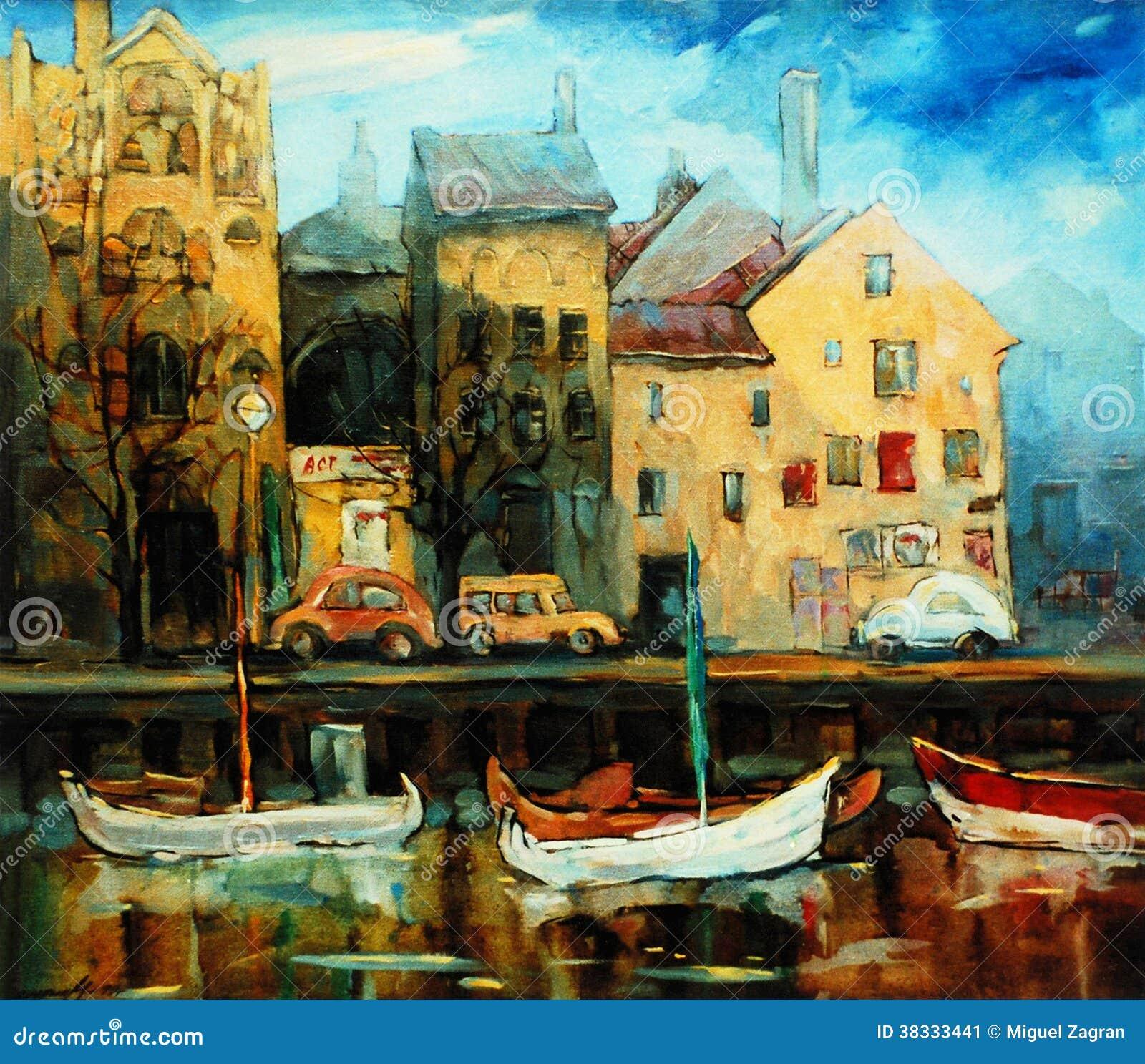 丹麦,哥本哈根,例证,绘由在帆布的油