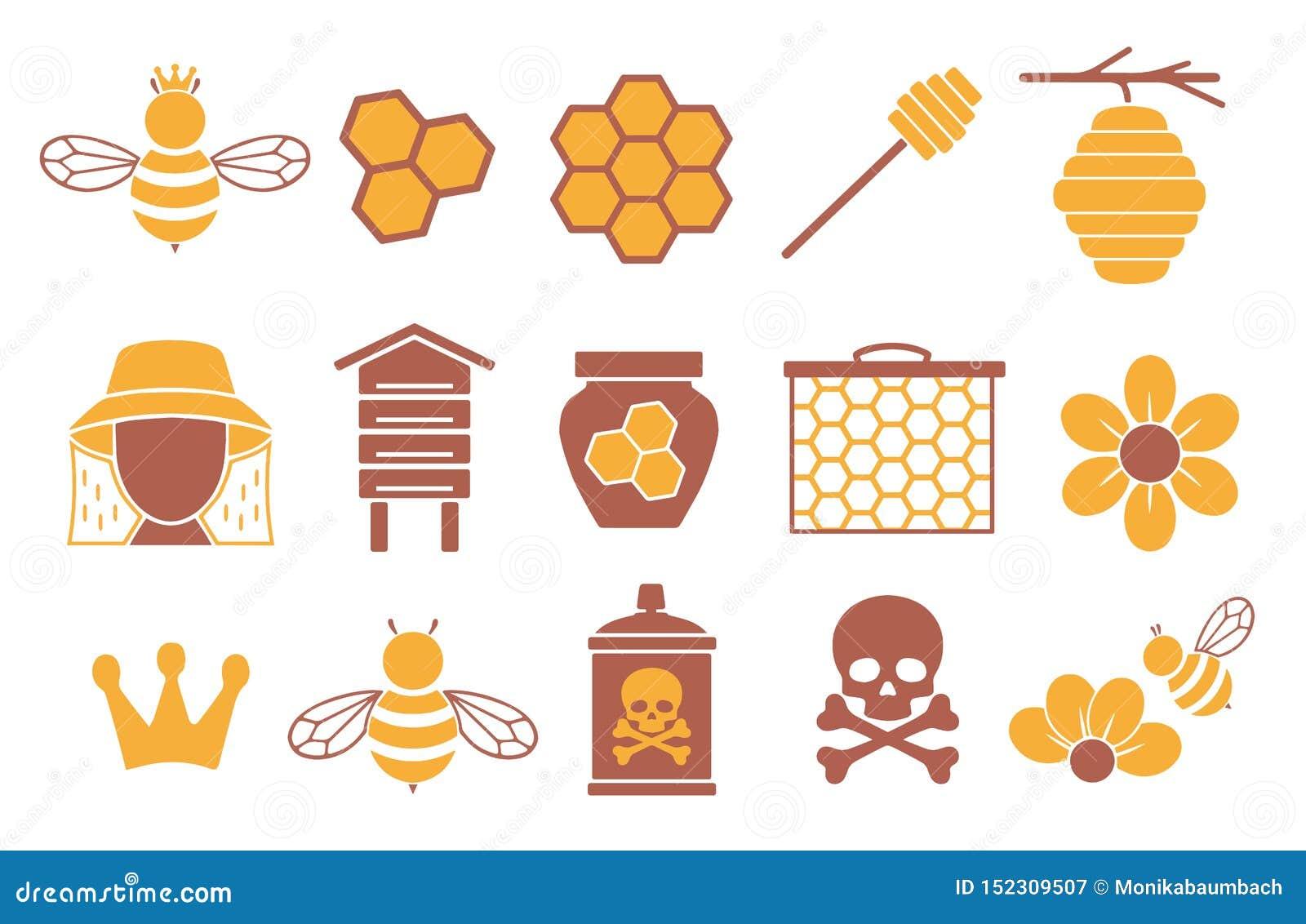为创造infographics设置的传染媒介象与蜂、授粉和养蜂业有关象蜂蜜瓶子、花和蜂窝