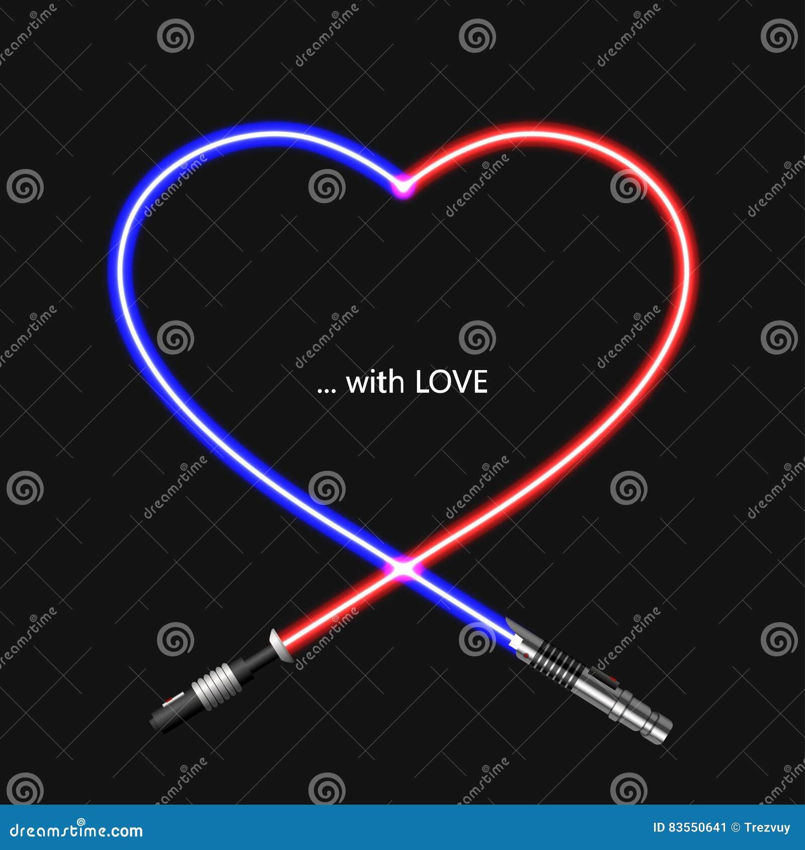 为情人节导航现代概念心脏和lightsaber