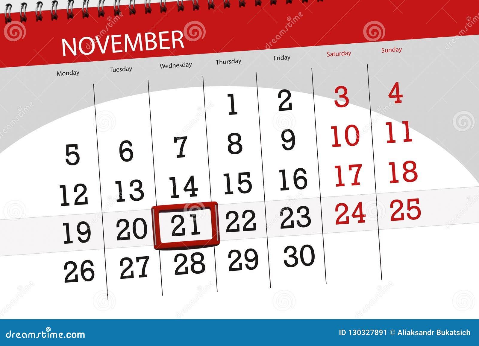 为月排进日程计划者,最后期限星期21 11月2018,星期三