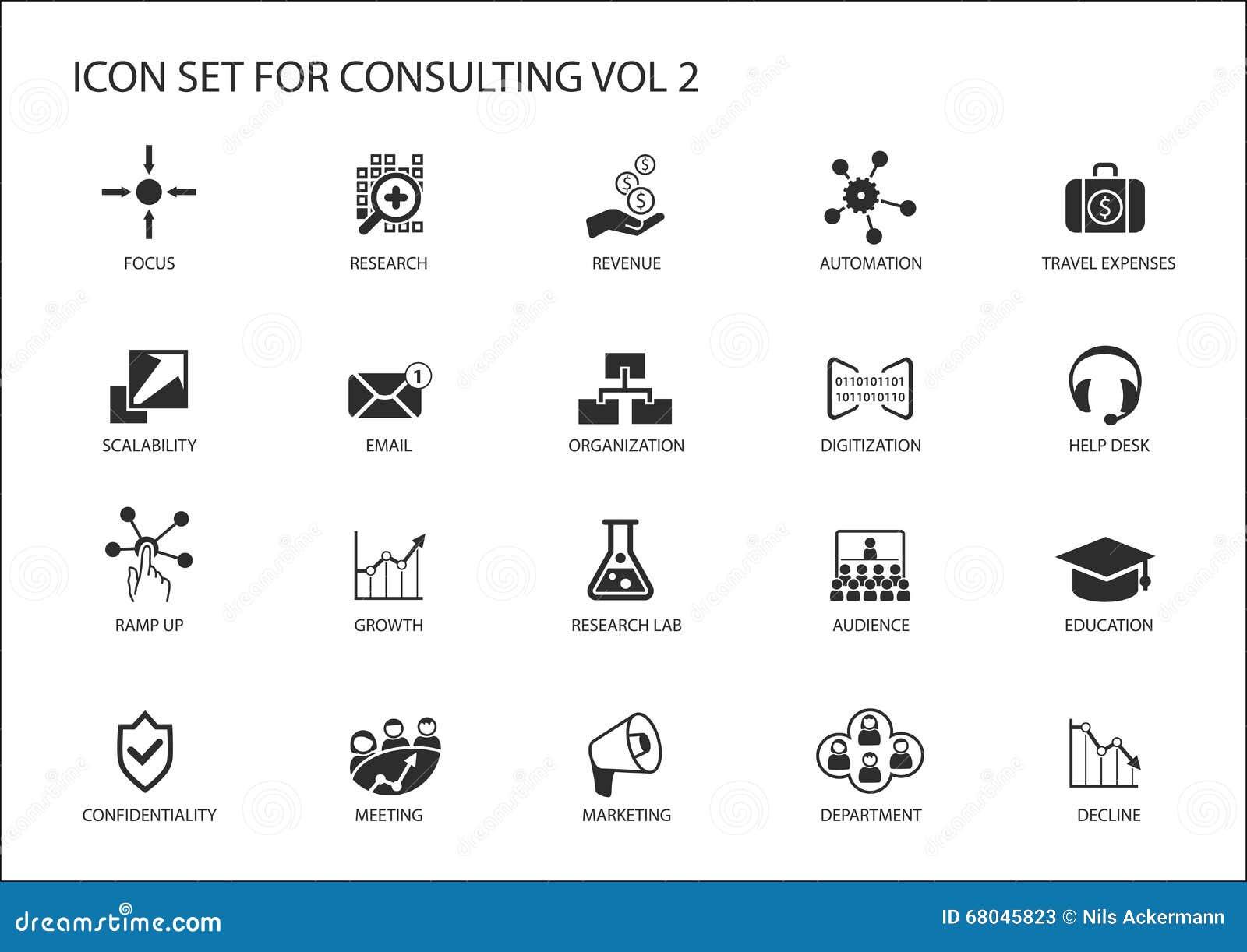 为题目咨询设置的传染媒介象 战略咨询咨询的IT的各种各样的标志,商务咨询和管理c