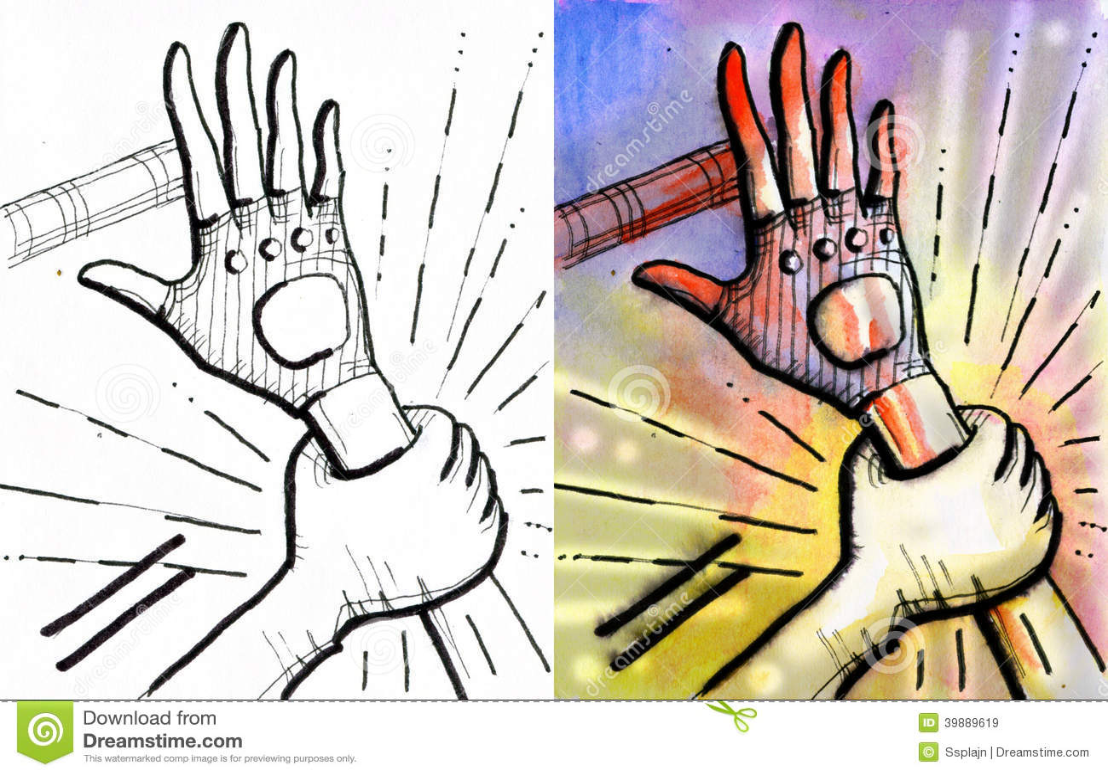举行另一个,与冲击线的一只手.停止它.血淋淋的手指.